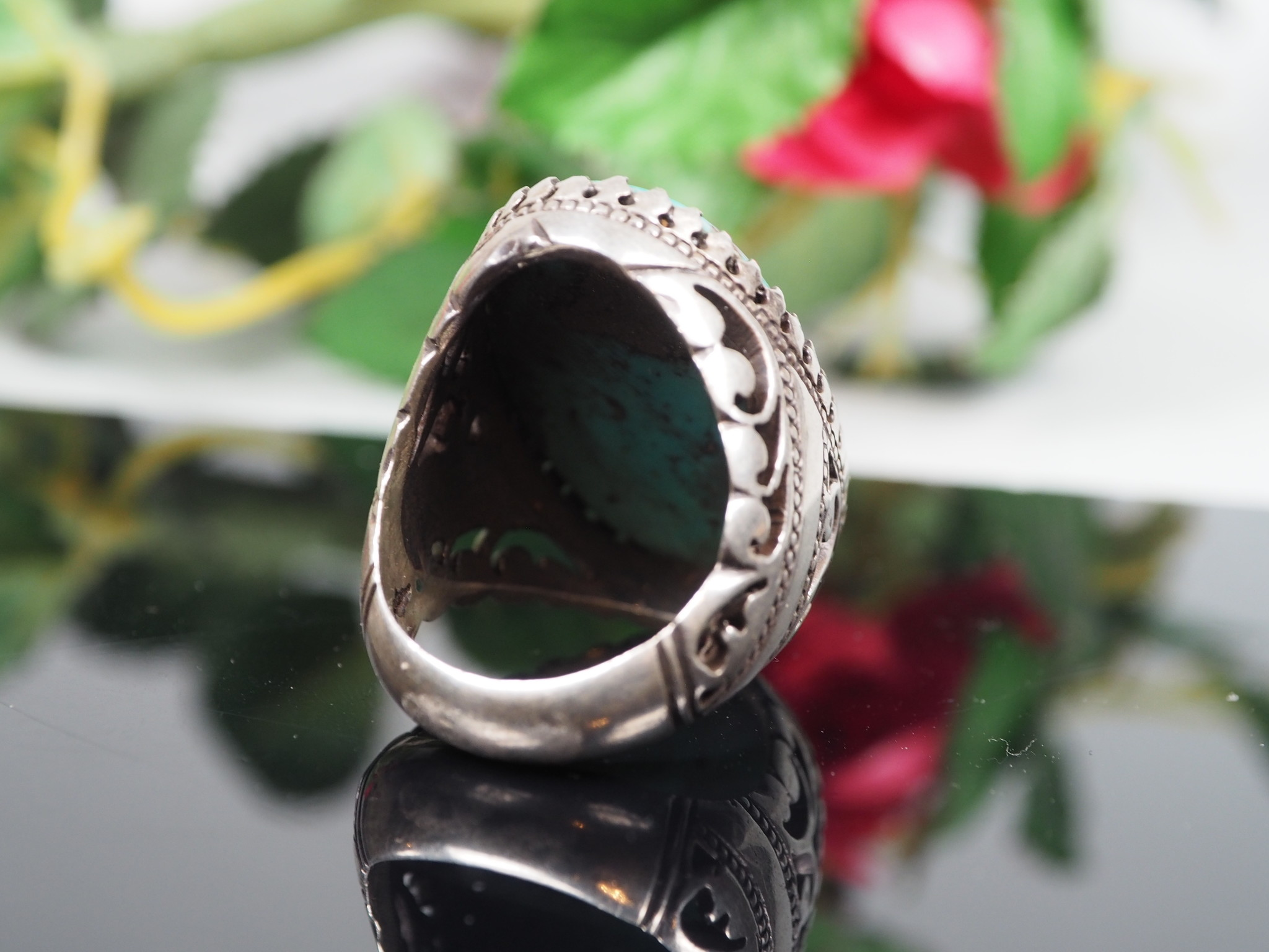 antique handmade Silver turquoise stone turkmen statement ring from Afghanistan No:WL21/5