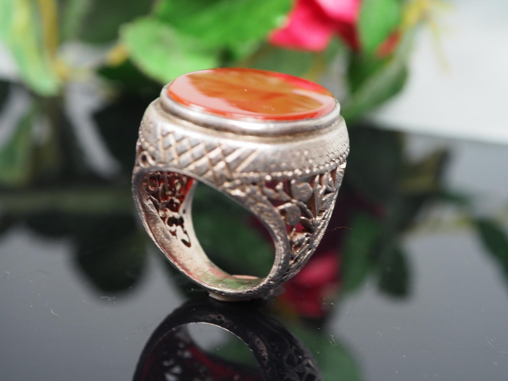antique handmade Silver Carnelian stone turkmen statement AQEEQ ring from Afghanistan No:WL21/6