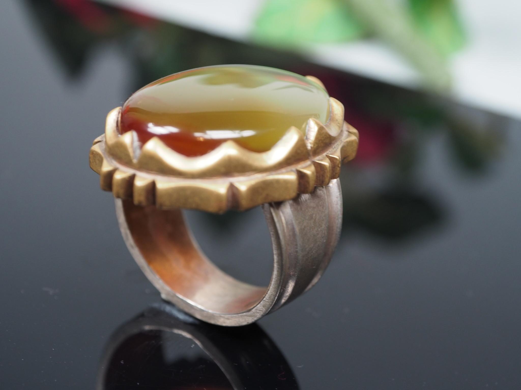 antique handmade Silver Carnelian stone turkmen statement AQEEQ ring from Afghanistan No:WL21/8