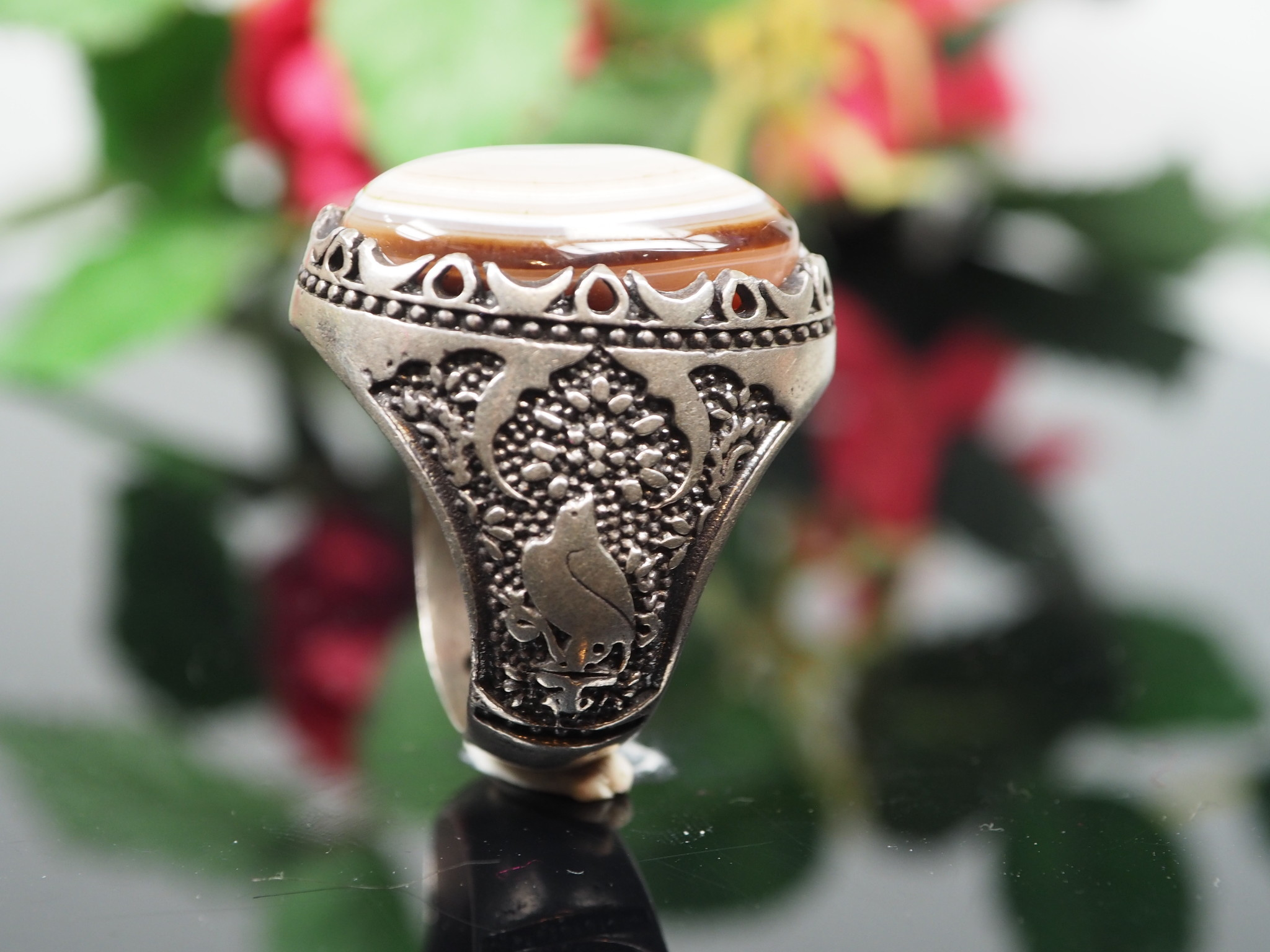 antique handmade Silver Carnelian stone turkmen statement AQEEQ eye agate ring from Afghanistan No:WL21/10