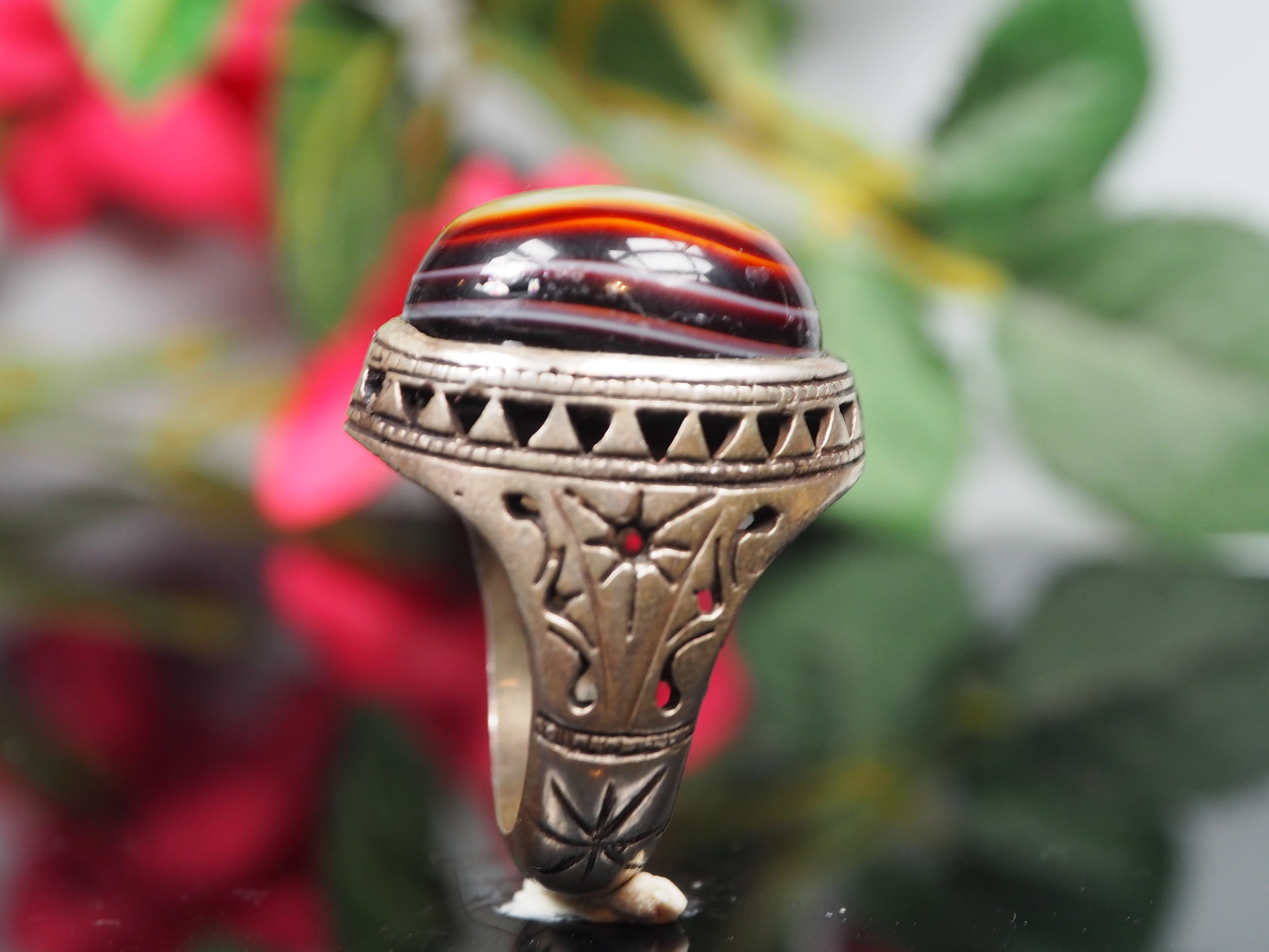 antique handmade Silver eye agate Carnelian stone turkmen statement AQEEQ ring from Afghanistan No:WL21/11