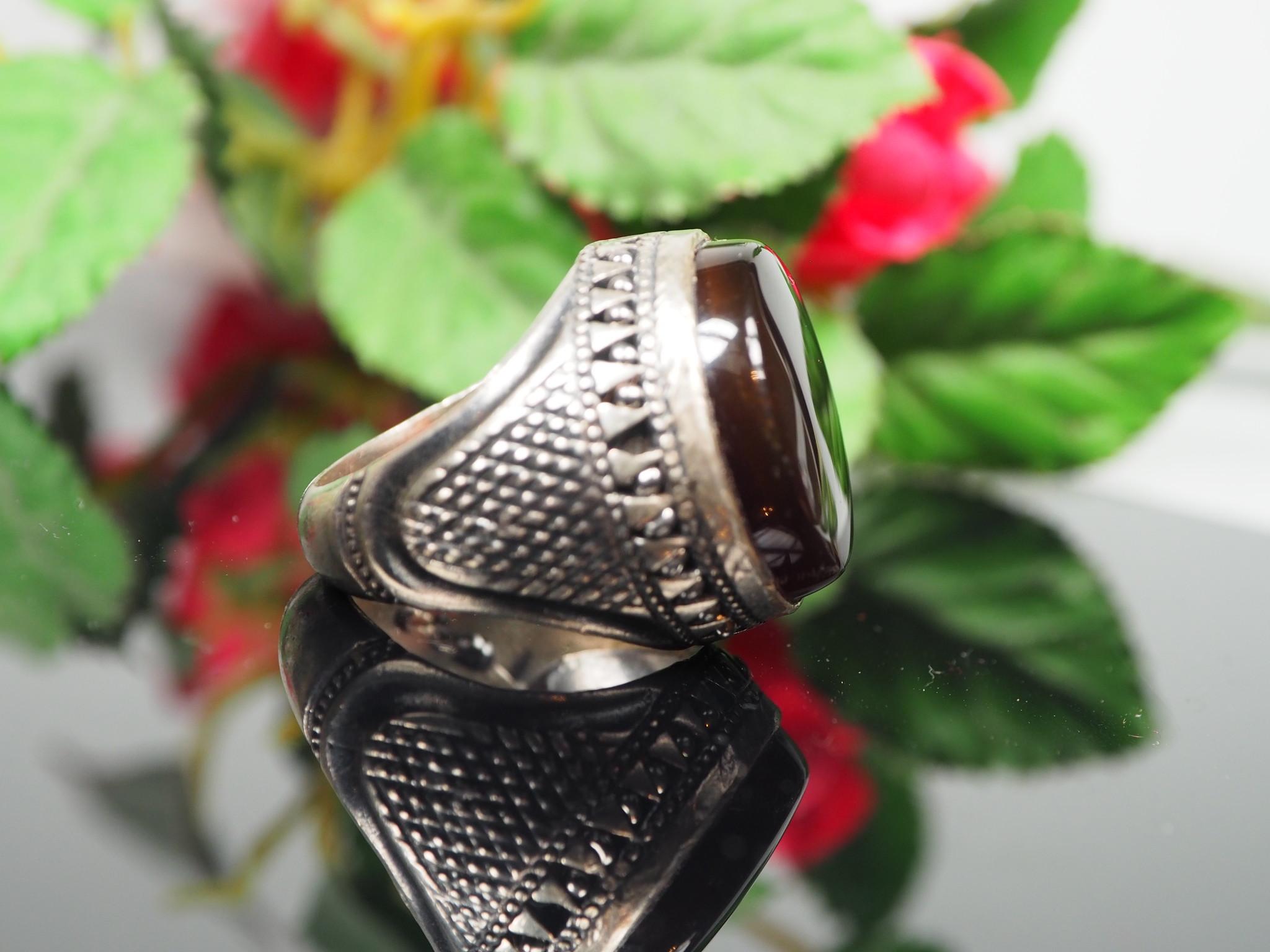 antique handmade Silver Carnelian stone turkmen statement AQEEQ ring from Afghanistan No:WL21/12