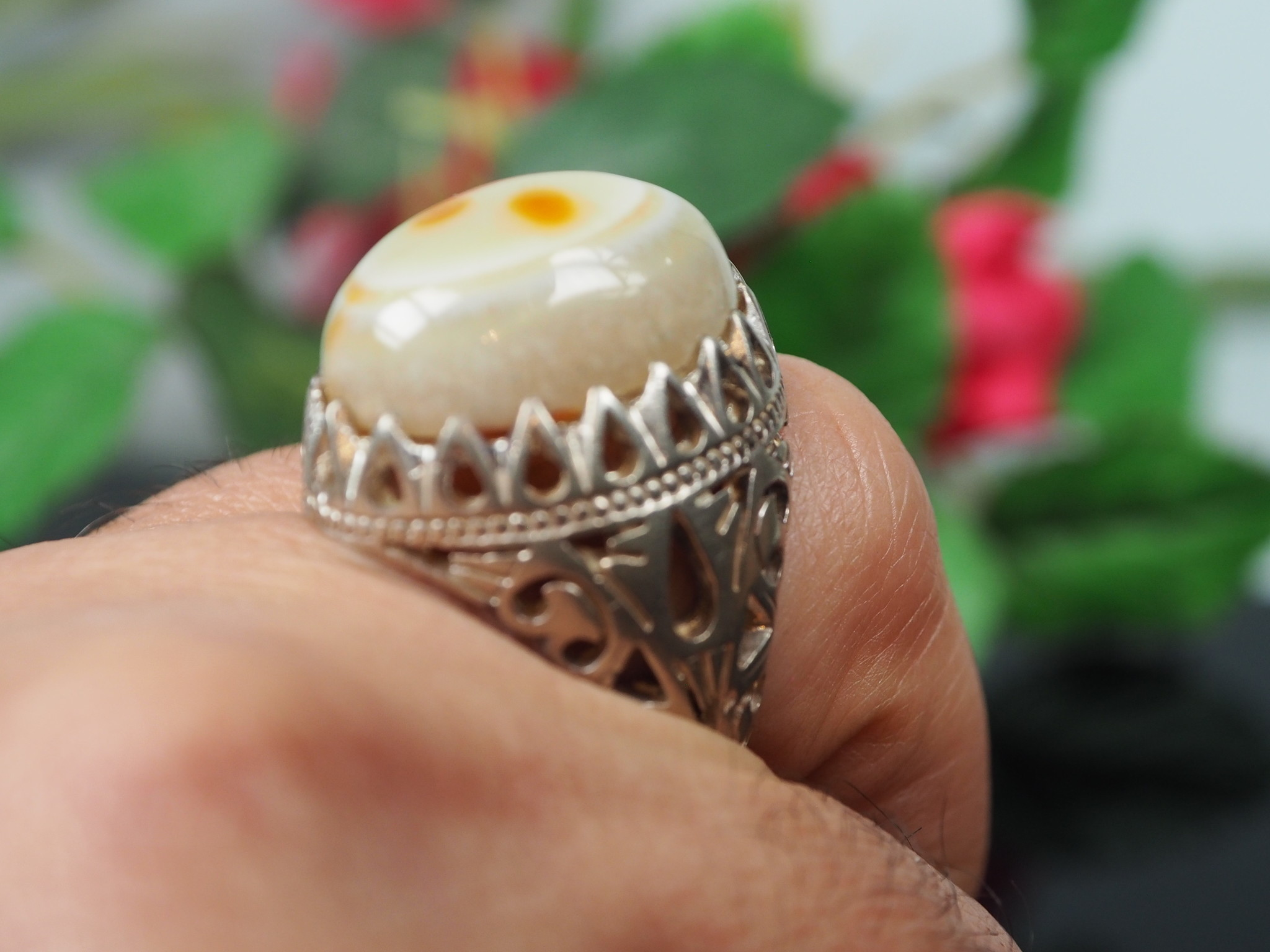 antique handmade Silver eye agate Carnelian stone turkmen statement AQEEQ ring from Afghanistan No:WL21/13