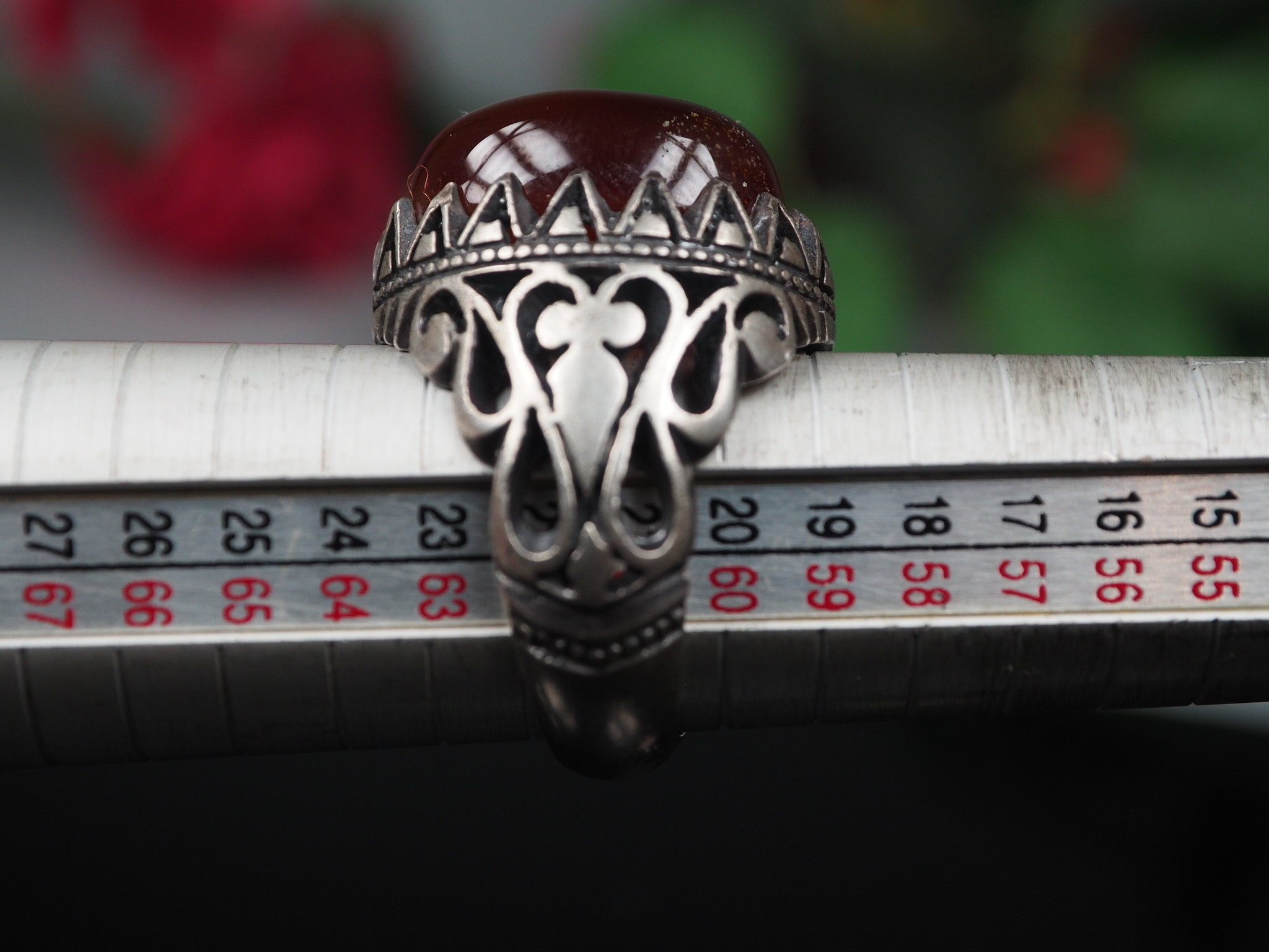 antique handmade Silver Carnelian stone turkmen statement AQEEQ ring from Afghanistan No:WL21/14