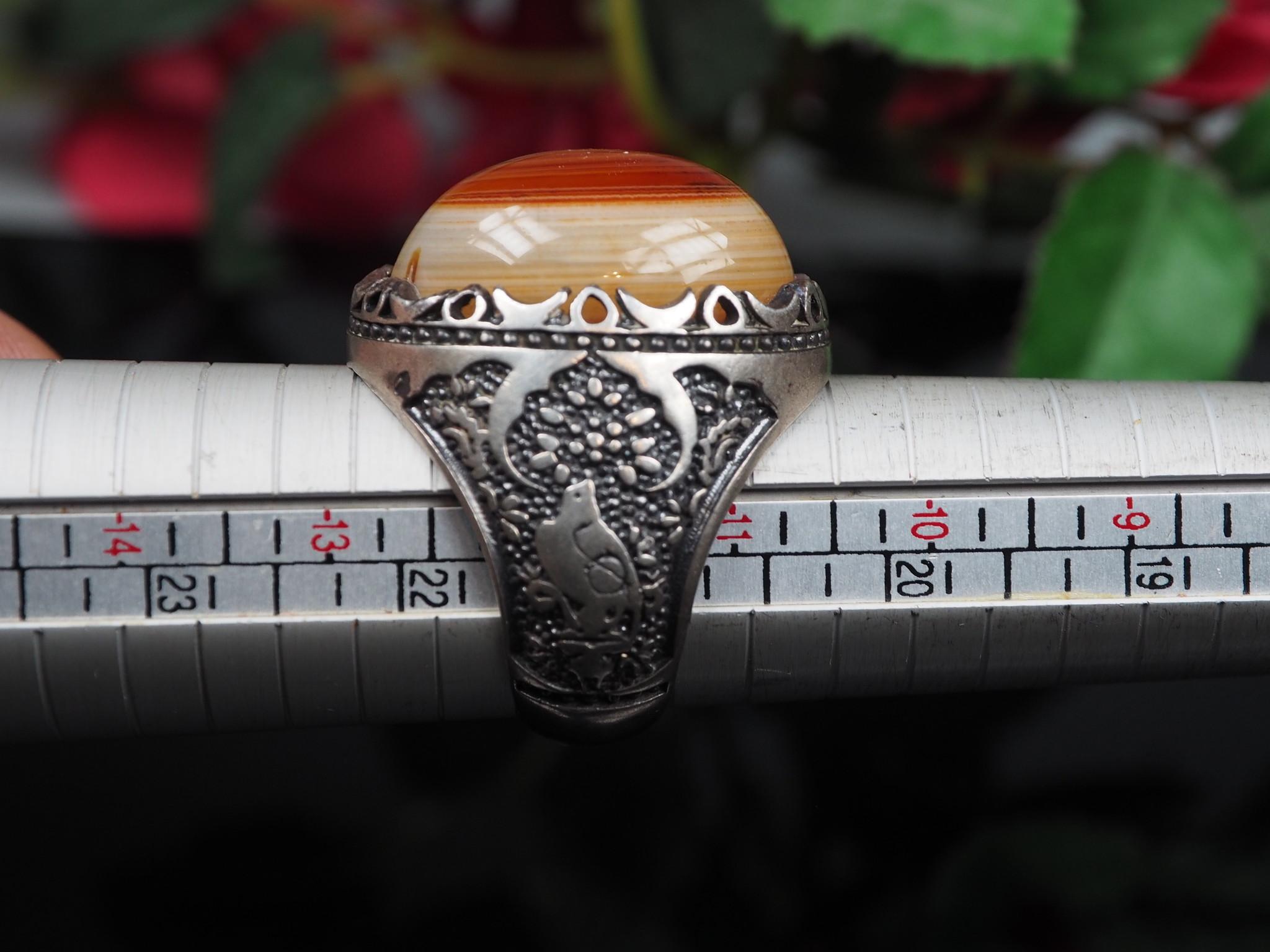orient Massive silber Augenachat Ring Turkmen Karneol Afghan statement ring aus Afghanistan AQEEQ Nr- WL21/15