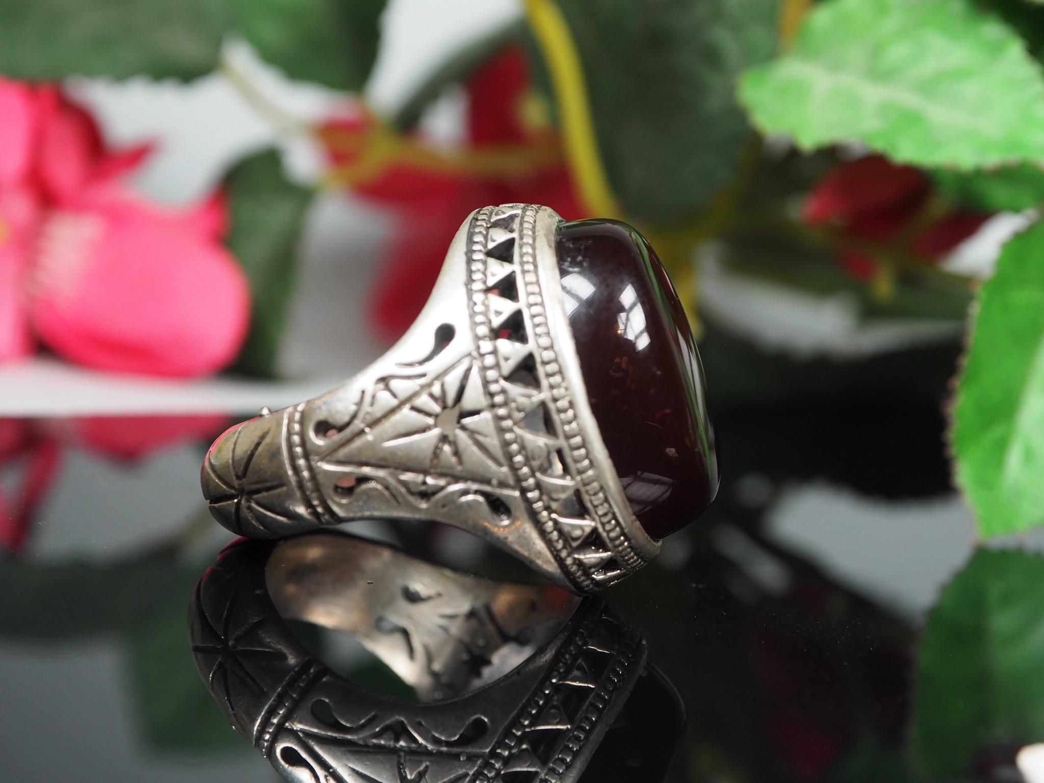 antique handmade Silver Carnelian stone turkmen statement AQEEQ ring from Afghanistan No:WL21/16