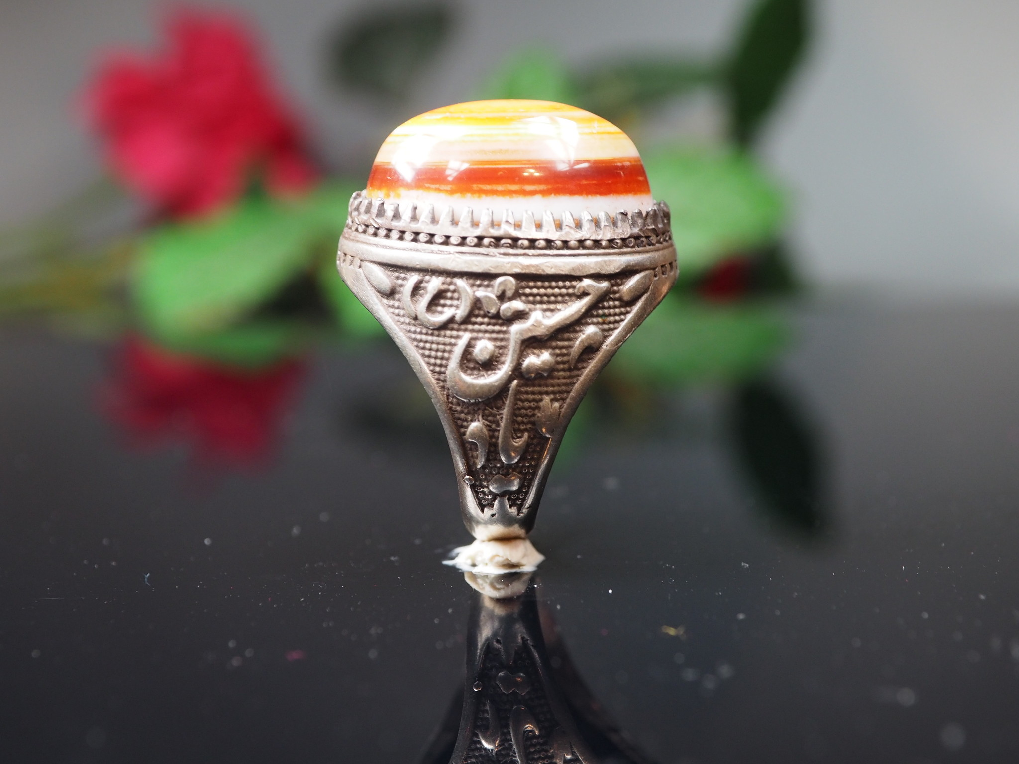 antique handmade islamic Silver Carnelian eye agate stone turkmen statement AQEEQ ring from Afghanistan No:WL21/17