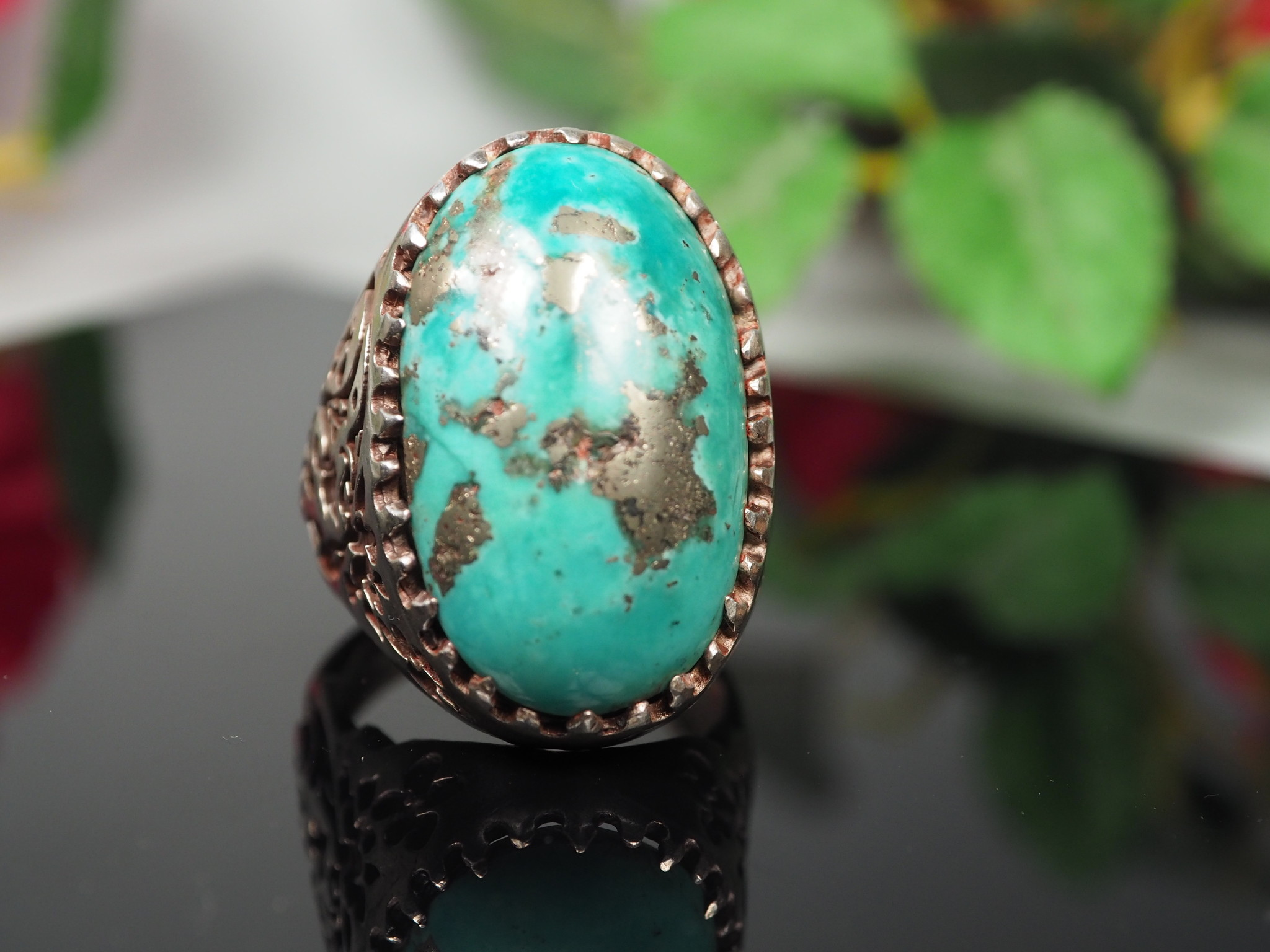 antique handmade Silver turquoise stone turkmen statement ring from Afghanistan No:WL21/18