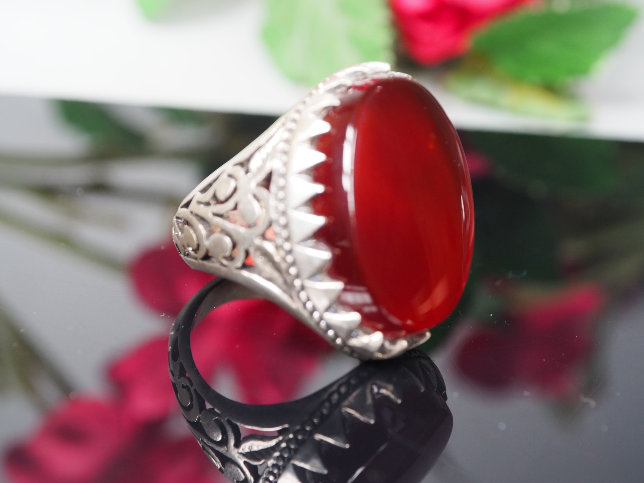 antique handmade Silver Carnelian stone turkmen statement AQEEQ ring from Afghanistan No:WL21/19