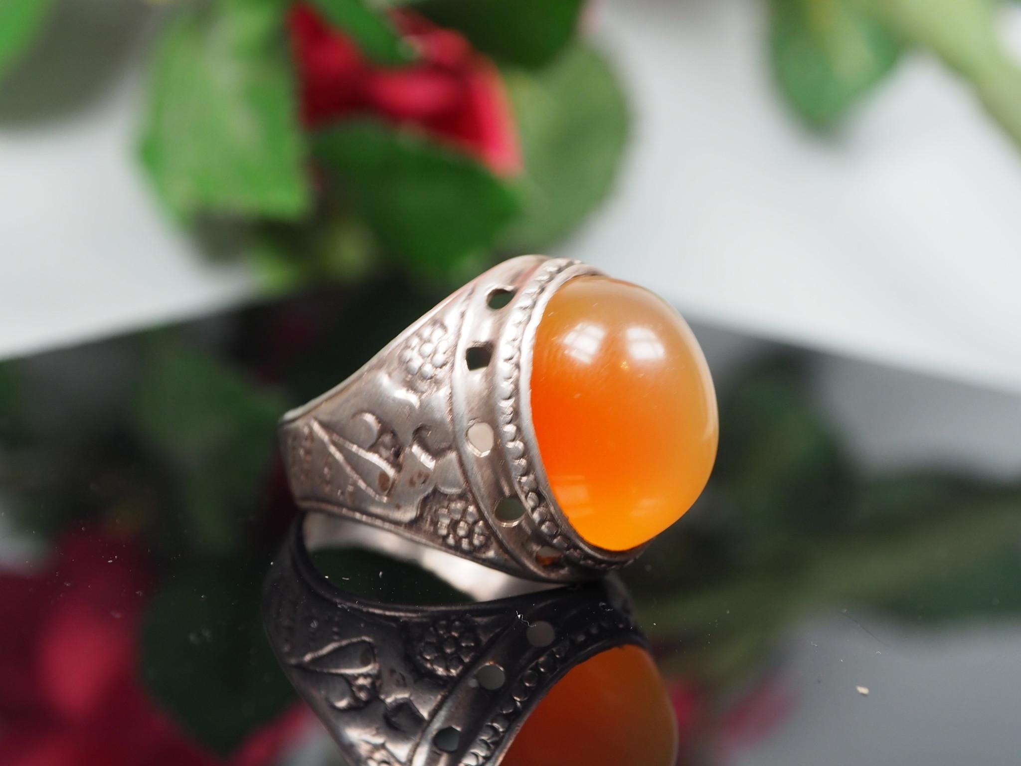 antique handmade Silver Carnelian stone turkmen statement AQEEQ ring from Afghanistan No:WL21/20