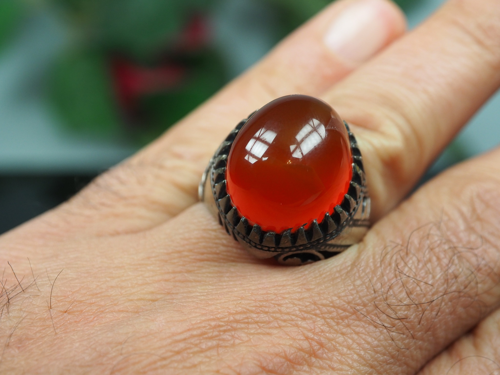 antique handmade Silver Carnelian stone turkmen statement AQEEQ ring from Afghanistan No:WL21/22