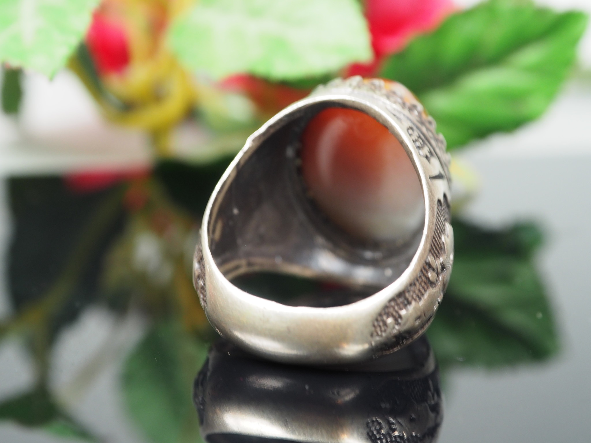 antique handmade Silver eye agate Carnelian stone turkmen statement AQEEQ ring from Afghanistan No:WL21/25