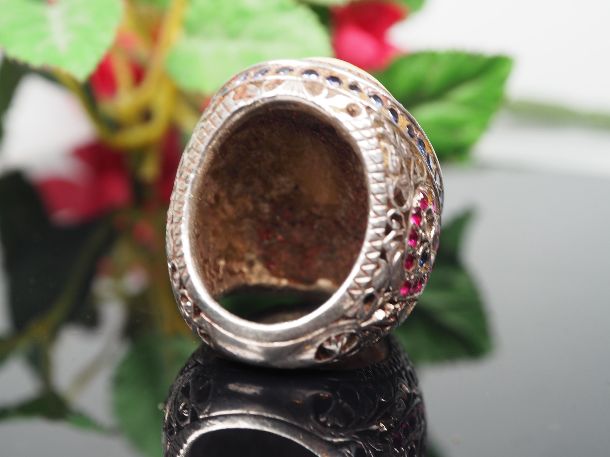 antique handmade Silver opal stone turkmen statement blue topaz ruby ring from Afghanistan No:WL21/26