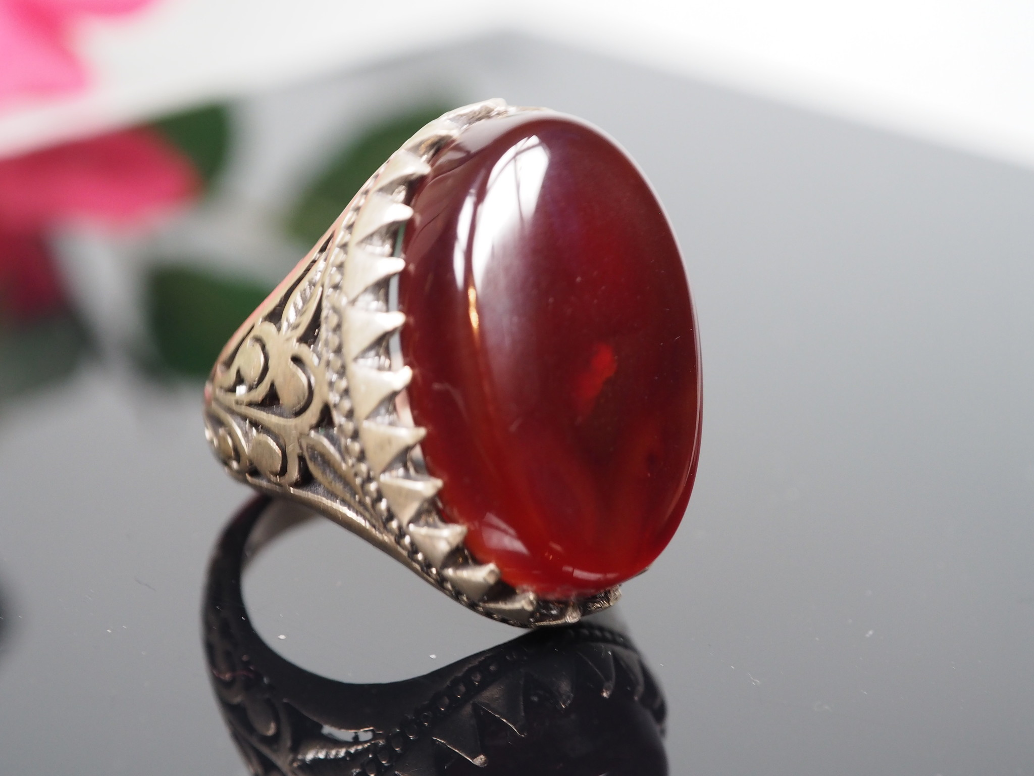 antique handmade Silver Carnelian stone turkmen statement AQEEQ ring from Afghanistan No:WL21/1