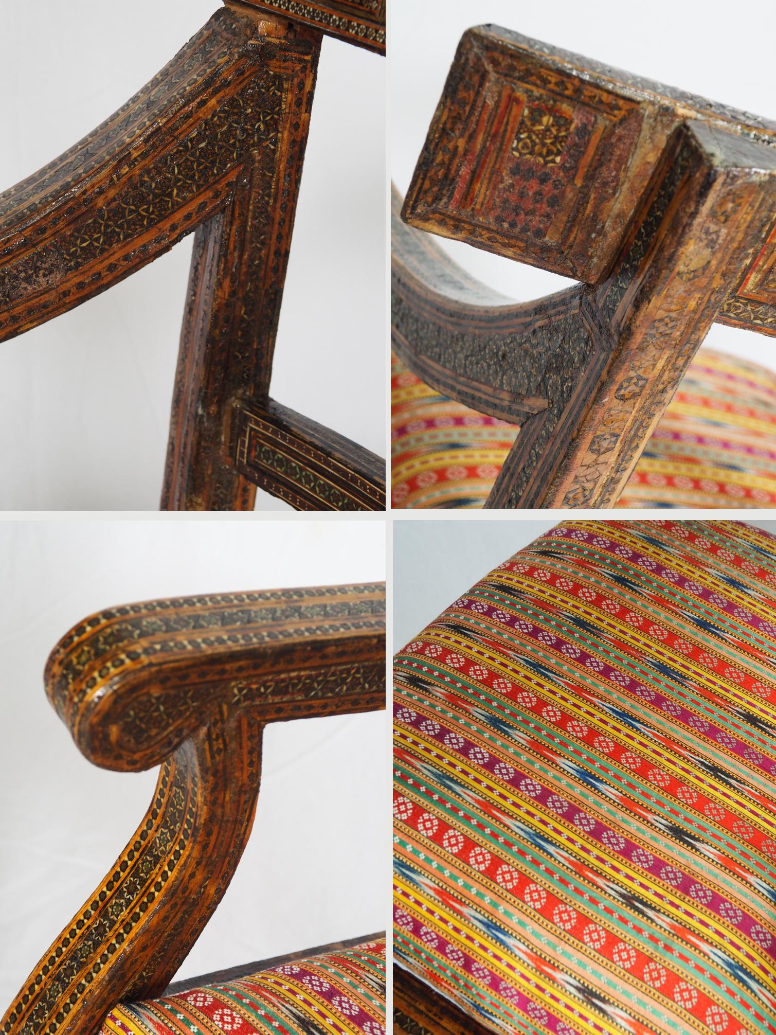 A Qajar (khatamkari technique)  chair Persia, 19th Century No:D