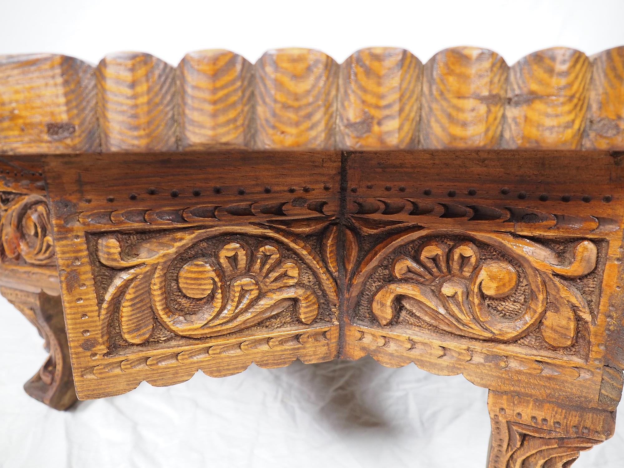 75x75 cm Massivholz handgeschnitzte Teetisch kolonialstil Wohnzimmertisch Tisch tisch aus Afghanistan Uzbekistan 8Eck