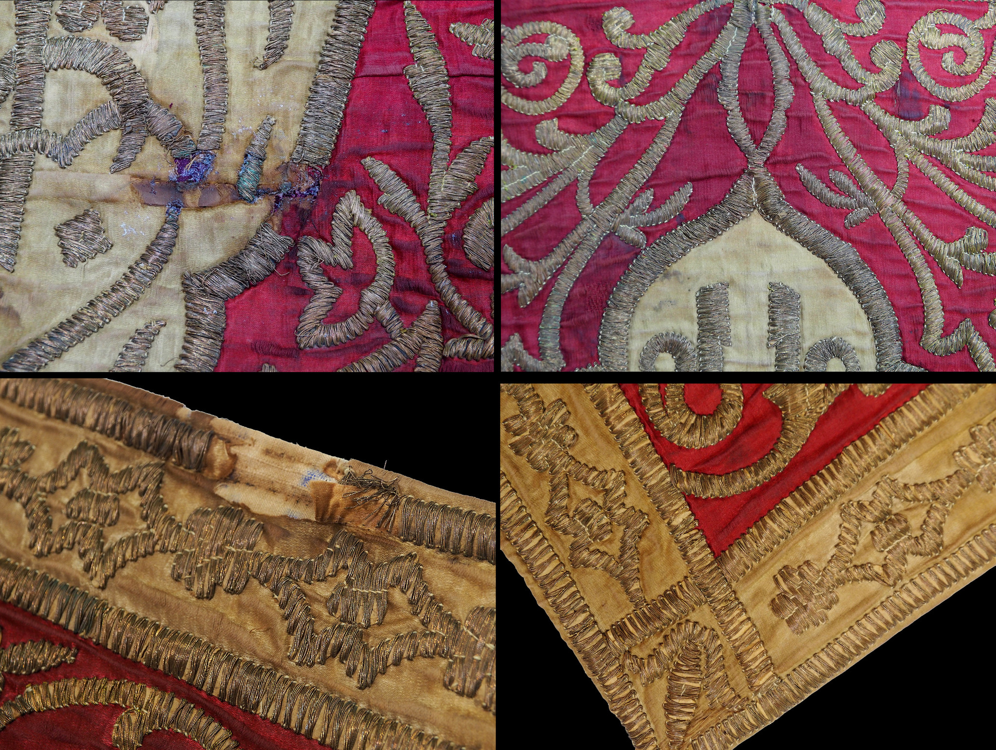 Antique islamic Ottoman Dynasty Turkish hand embroidered textile panel Tapestry 21/A