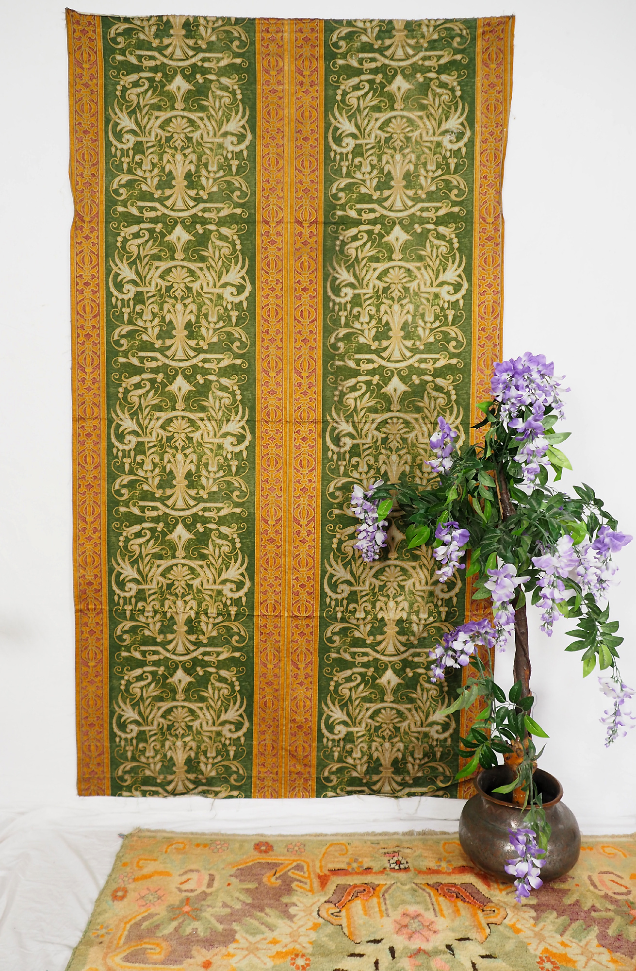210x115 cmVintage Antique Biedermeier Velvet Stripe Fabric Russia Jacquard Velvet Antique Damask