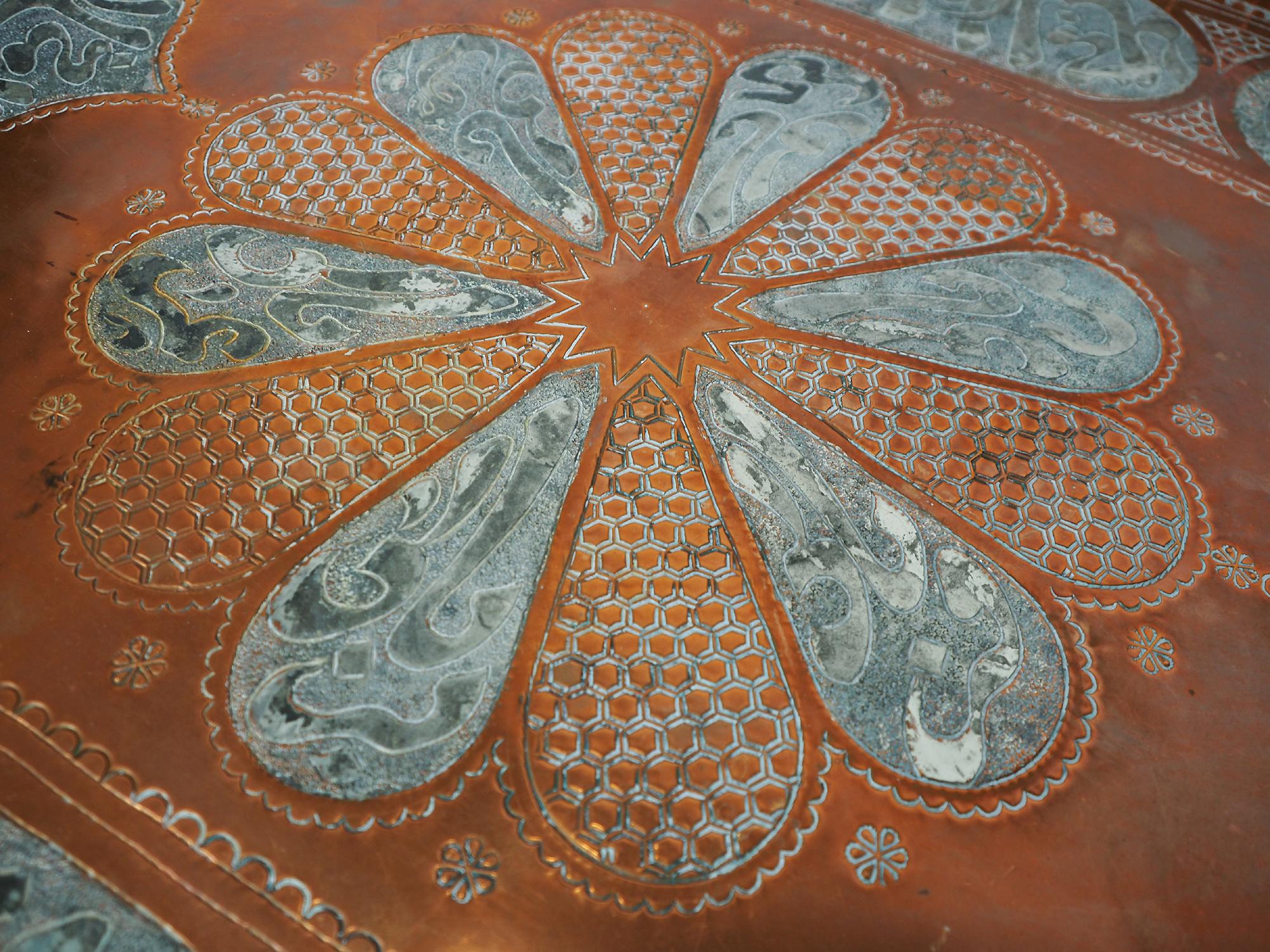 110 cm antik osmanisch ägyptisch marokkanisch orient Kupfer tablett Teetisch Teller beisteltisch Afghanistan syrien arabische kalligraphie oval