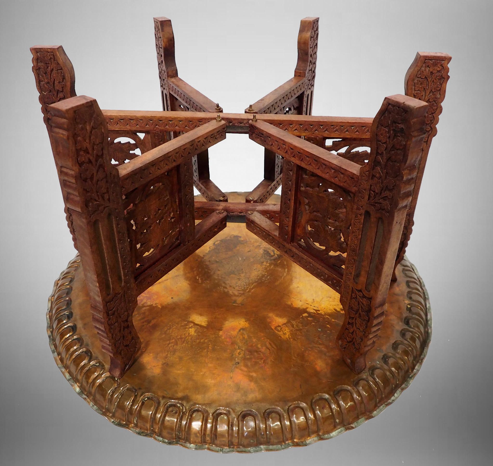 70 Ø antik osmanisch ägyptisch marokkanisch orient Kupfer tablett Teetisch Teller beisteltisch Afghanistan syrien arabische kalligraphie  21/1
