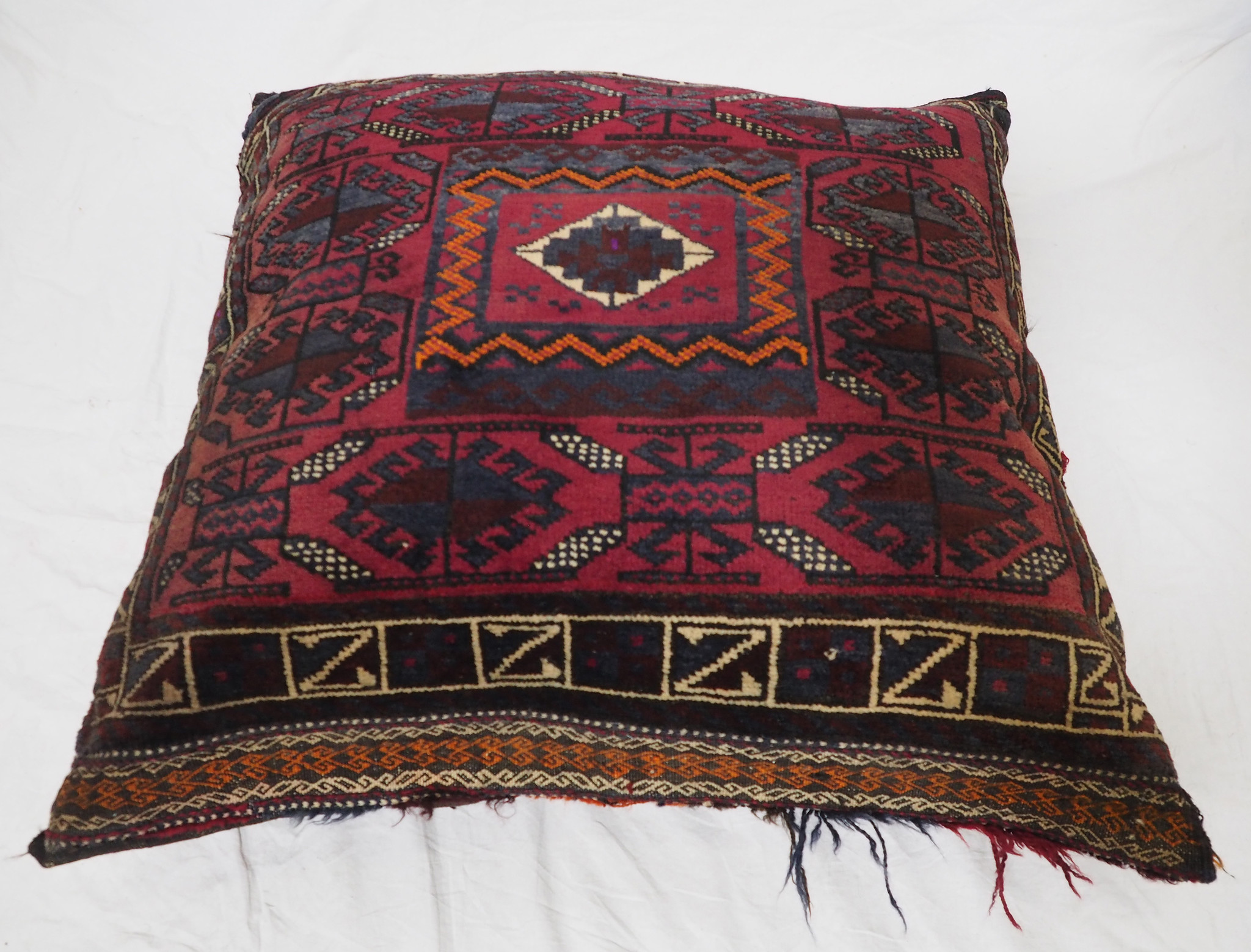 antique very rare Balochi nomadic carpet cushion orient nomad rug seat Bohemian Afghanistan pillow 21/5