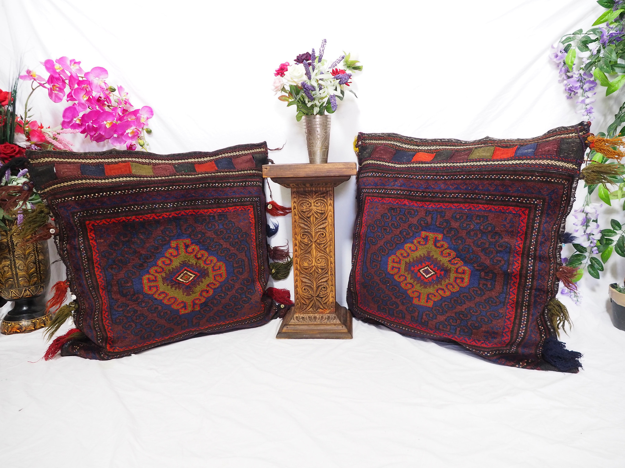 antique very rare Balochi nomadic carpet cushion orient nomad rug seat Bohemian Afghanistan pillow 21/6