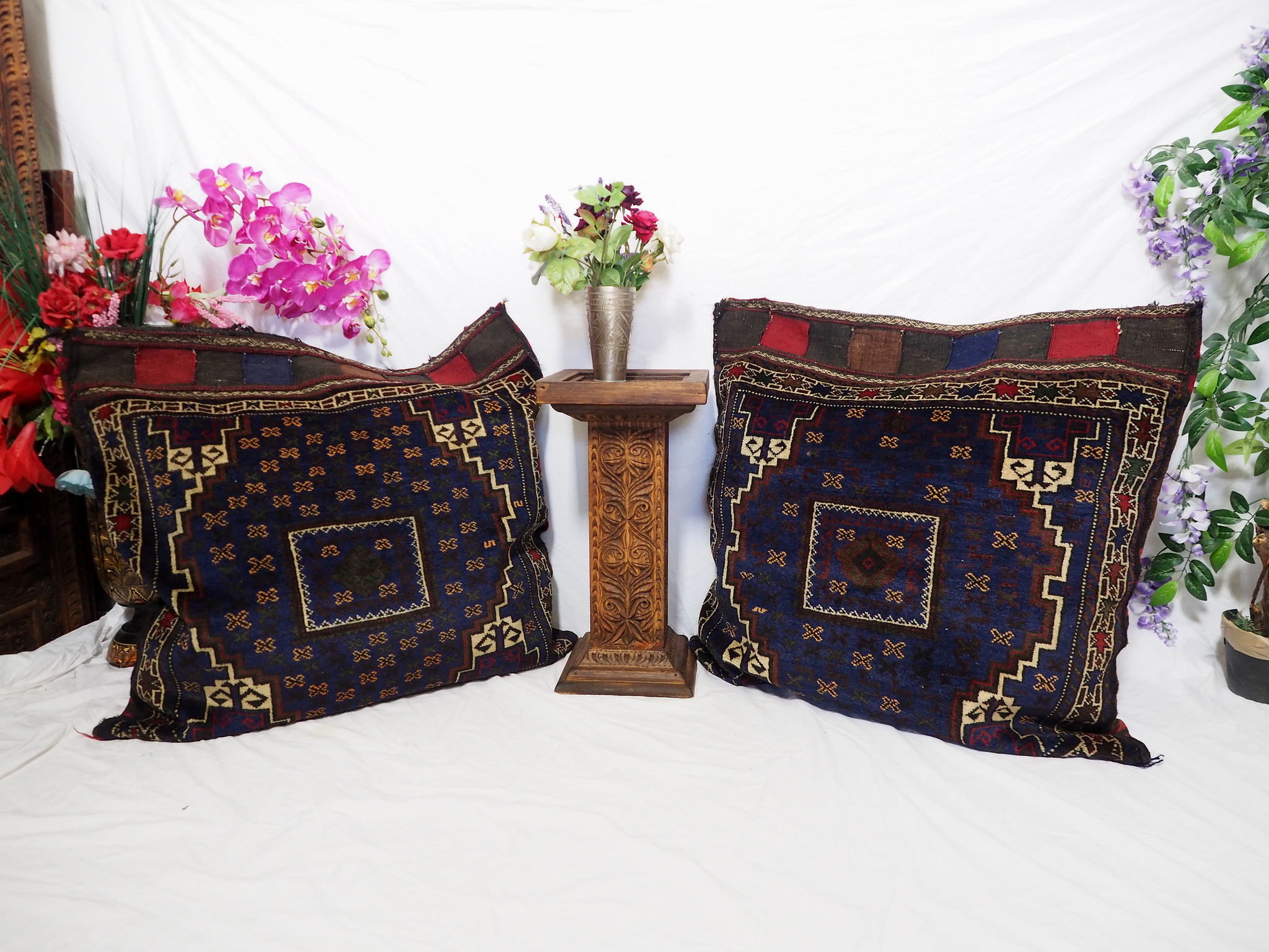 antique very rare Balochi nomadic carpet cushion orient nomad rug seat Bohemian Afghanistan pillow 21/7