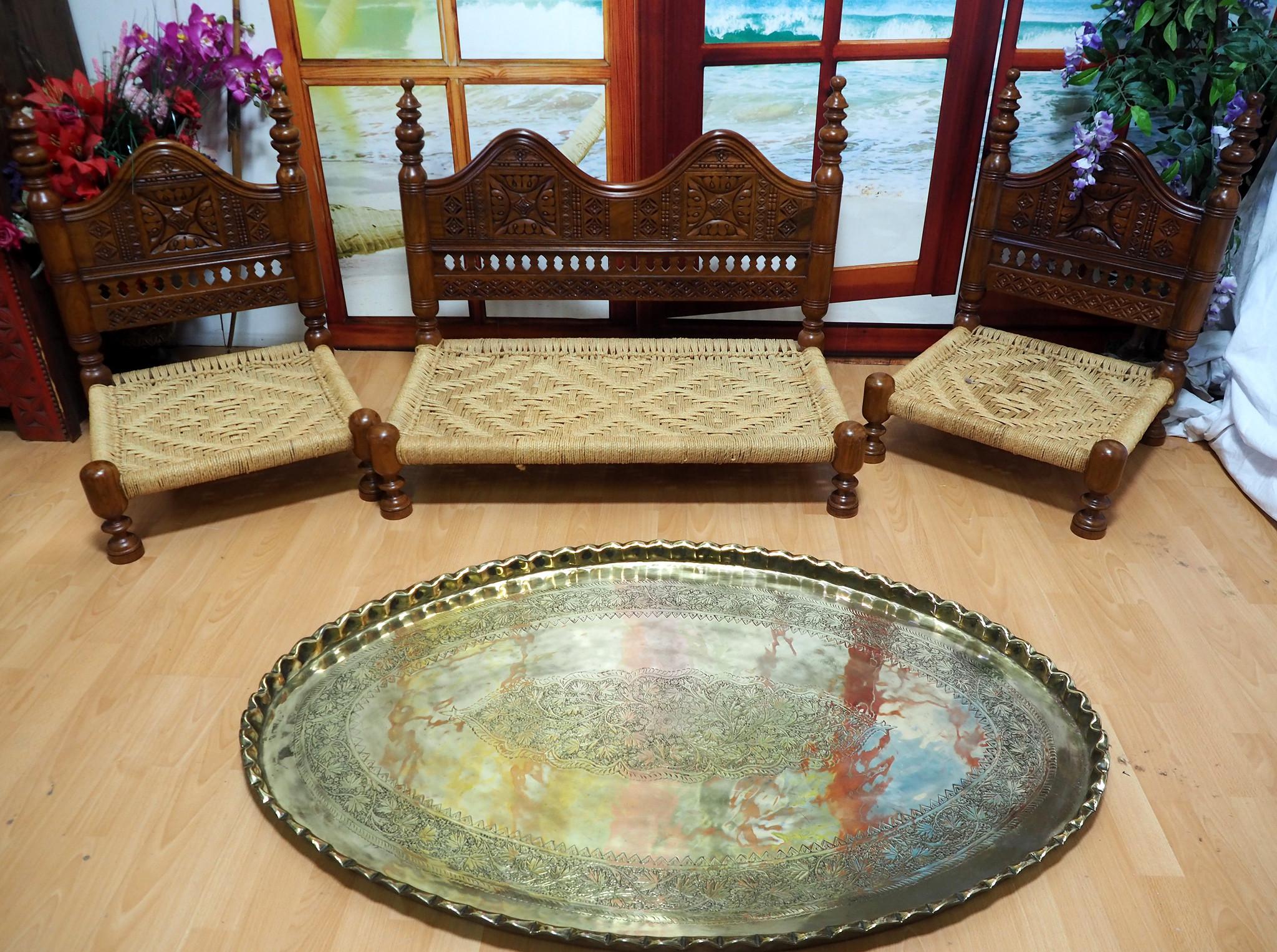 3-teilige orientalische Sitzecke Sofagarnitur Sessel Stuhl Nuristan Afghanistan