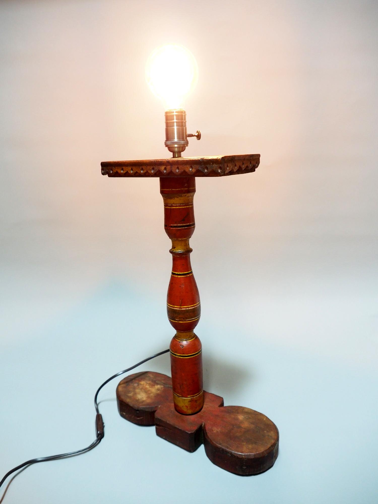 Antike orient handgearbeitete Lacquerware Massiv Holz Lampensockel Tischleuchte mit Vintage Fassung aus Afghanistan Pakistan 21/A
