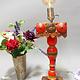 Antike orient handgearbeitete Lacquerware Massiv Holz Lampensockel Tischleuchte mit Vintage Fassung aus Afghanistan Pakistan 21/5