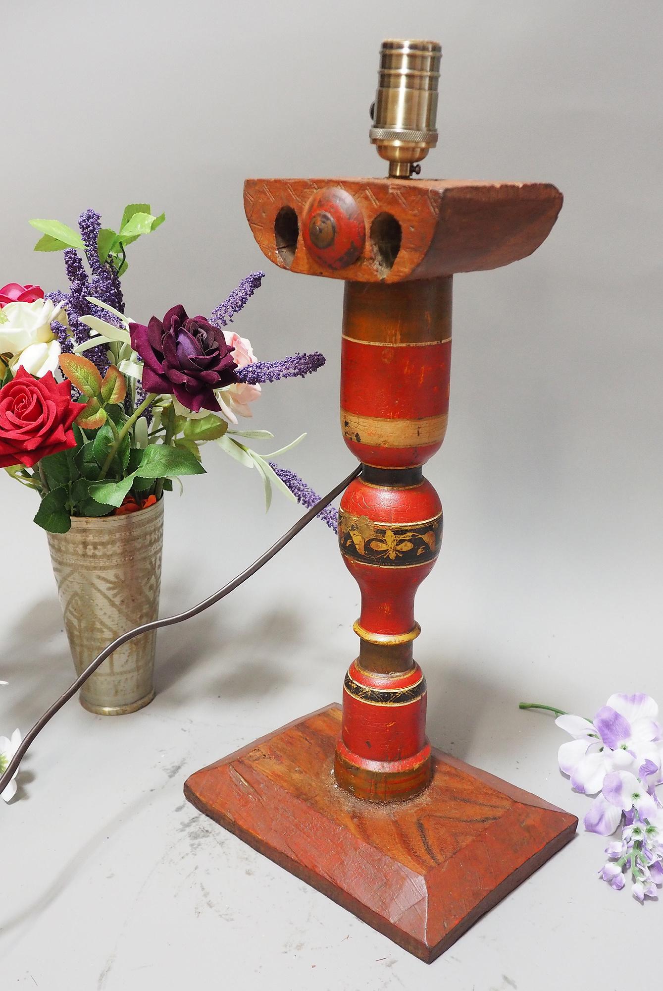 Antike orient handgearbeitete Lacquerware Massiv Holz Lampensockel Tischleuchte mit Vintage Fassung aus Afghanistan Pakistan 21/4