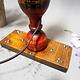 Antike orient handgearbeitete Lacquerware Massiv Holz Lampensockel Tischleuchte mit Vintage Fassung aus Afghanistan Pakistan 21/6