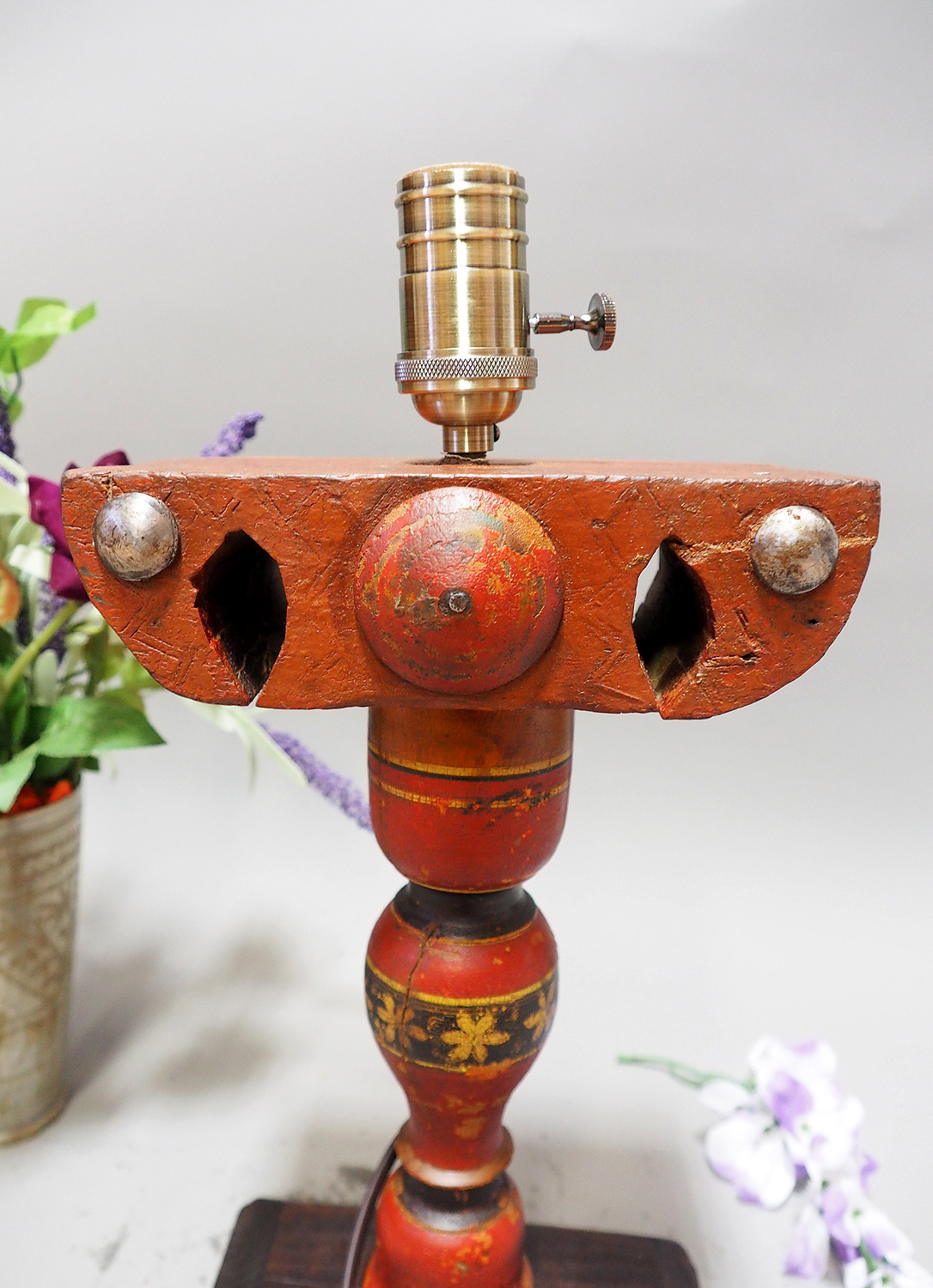 Antique handpainted stunning Vintage Lacquerware wooden Table Lamp with Vintage light fitting from Afghanistan / Pakistan No:21/7
