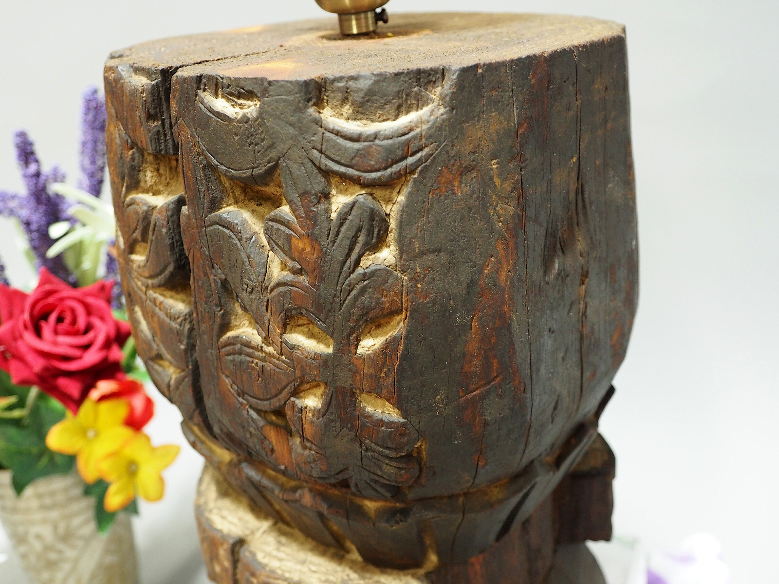 antique wooden table lamp lamp base from Nuristan Afghanistan Swat velly pakistan with brass lampholder. No:NU1