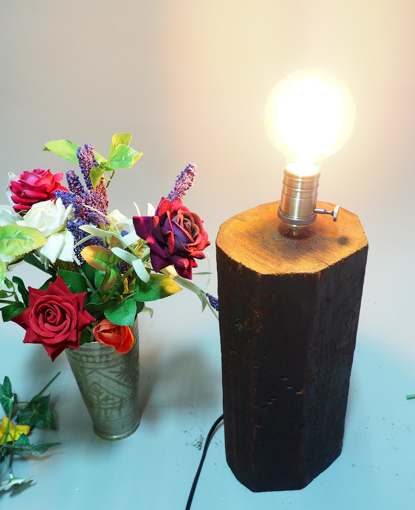 antique wooden table lamp lamp base from Nuristan Afghanistan Swat velly pakistan No:NU3
