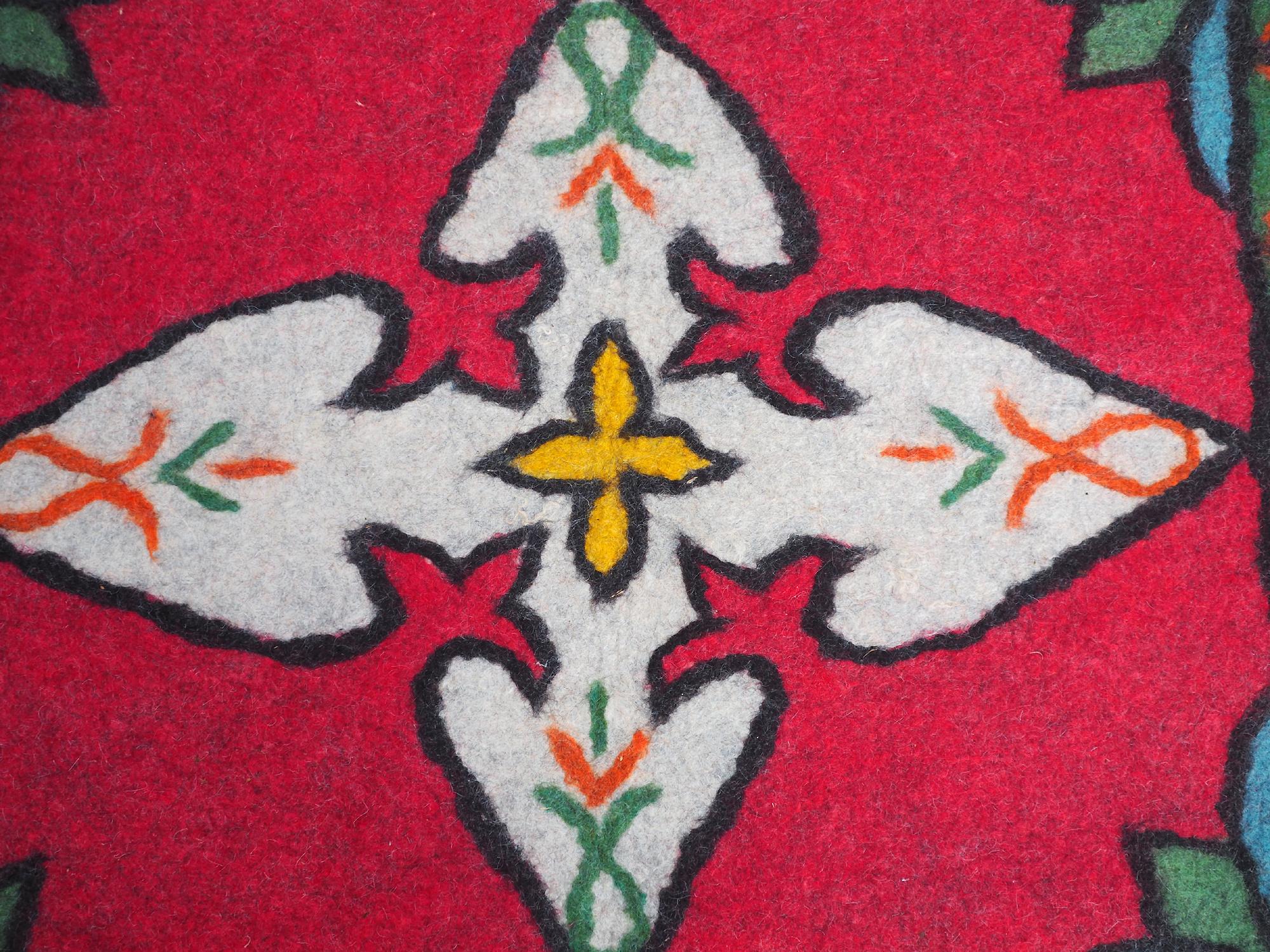 212x151 cm  tribal Nomadic Turkmen nomads Vintage felt rug rug from Afghanistan feltrug carpet shyrdak No-696