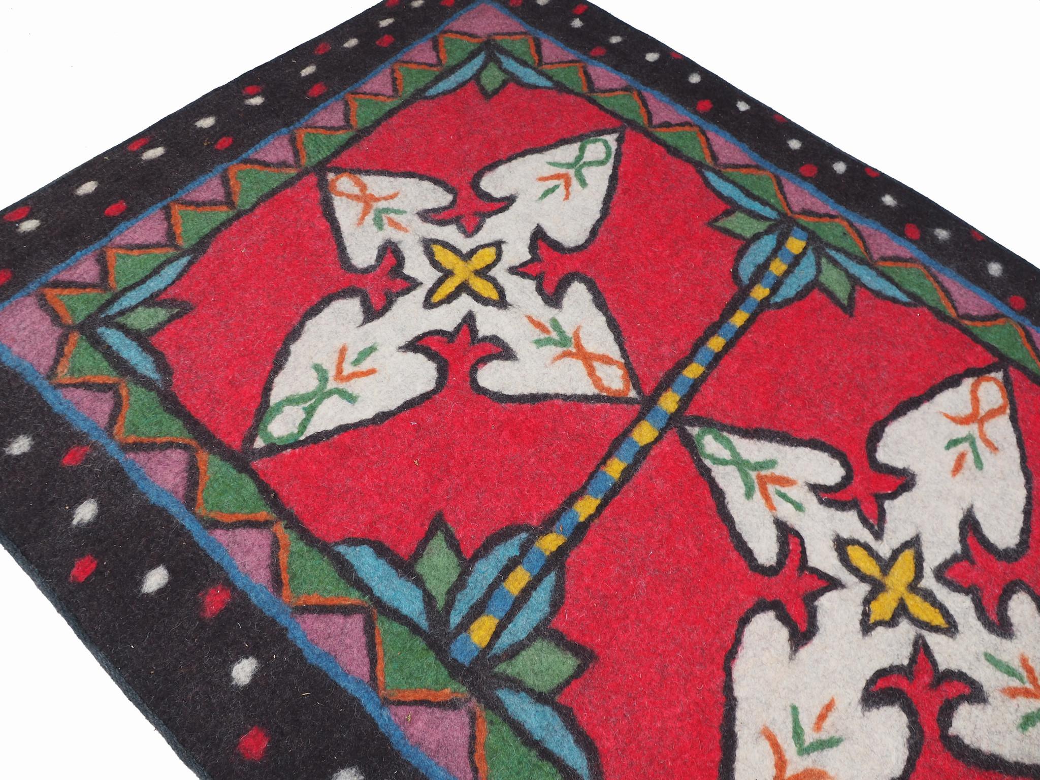 212x151 cm orient handgewebte Teppich Nomaden handgearbeitete Turkmenische nomanden Jurten Zelt Filzteppich Filz Nor Afghanistan shyrdak 696