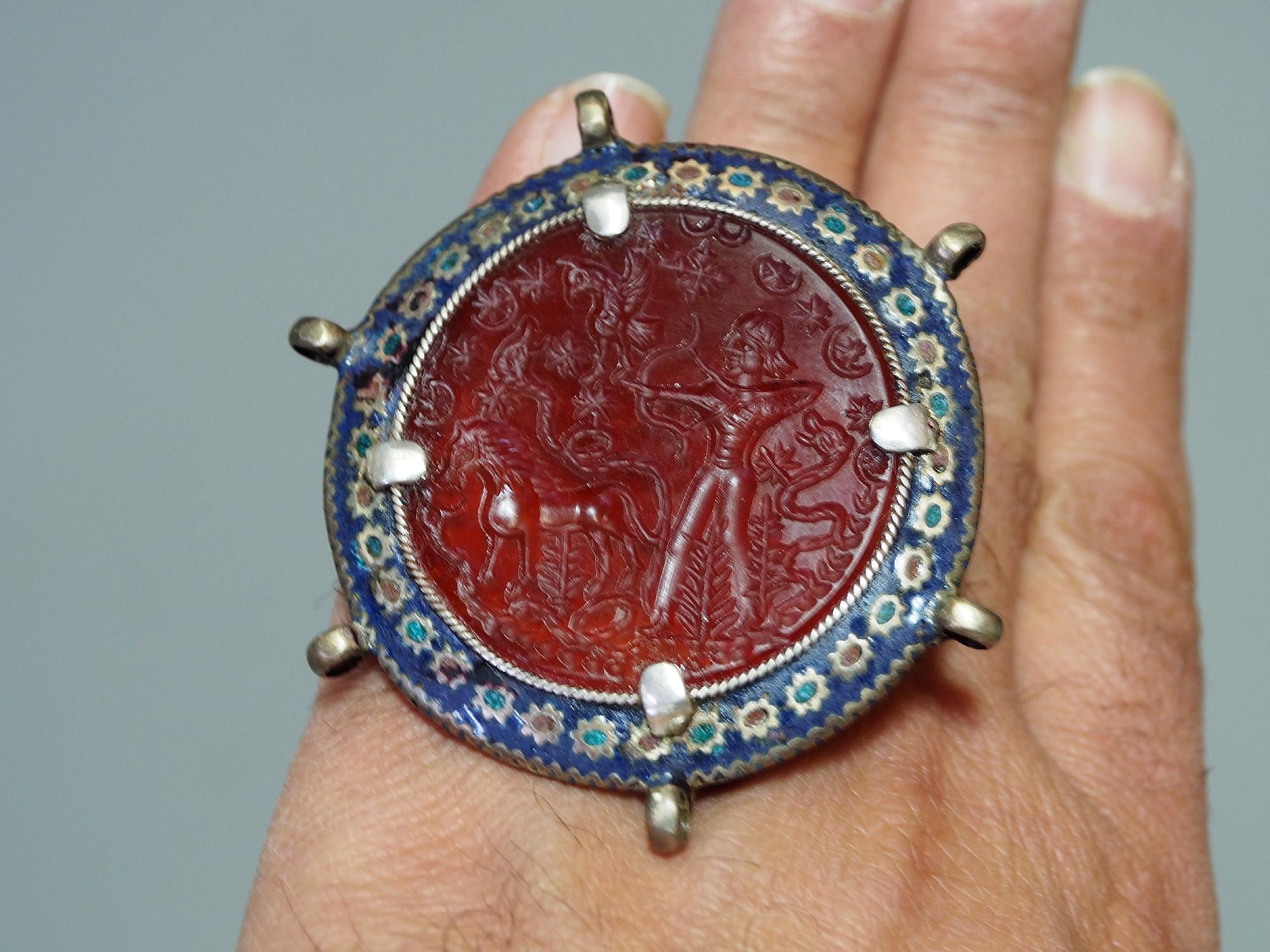 antique enamelled Multan Sindhi Jewellery Ring  carnelian seal stone No:WL21 - C