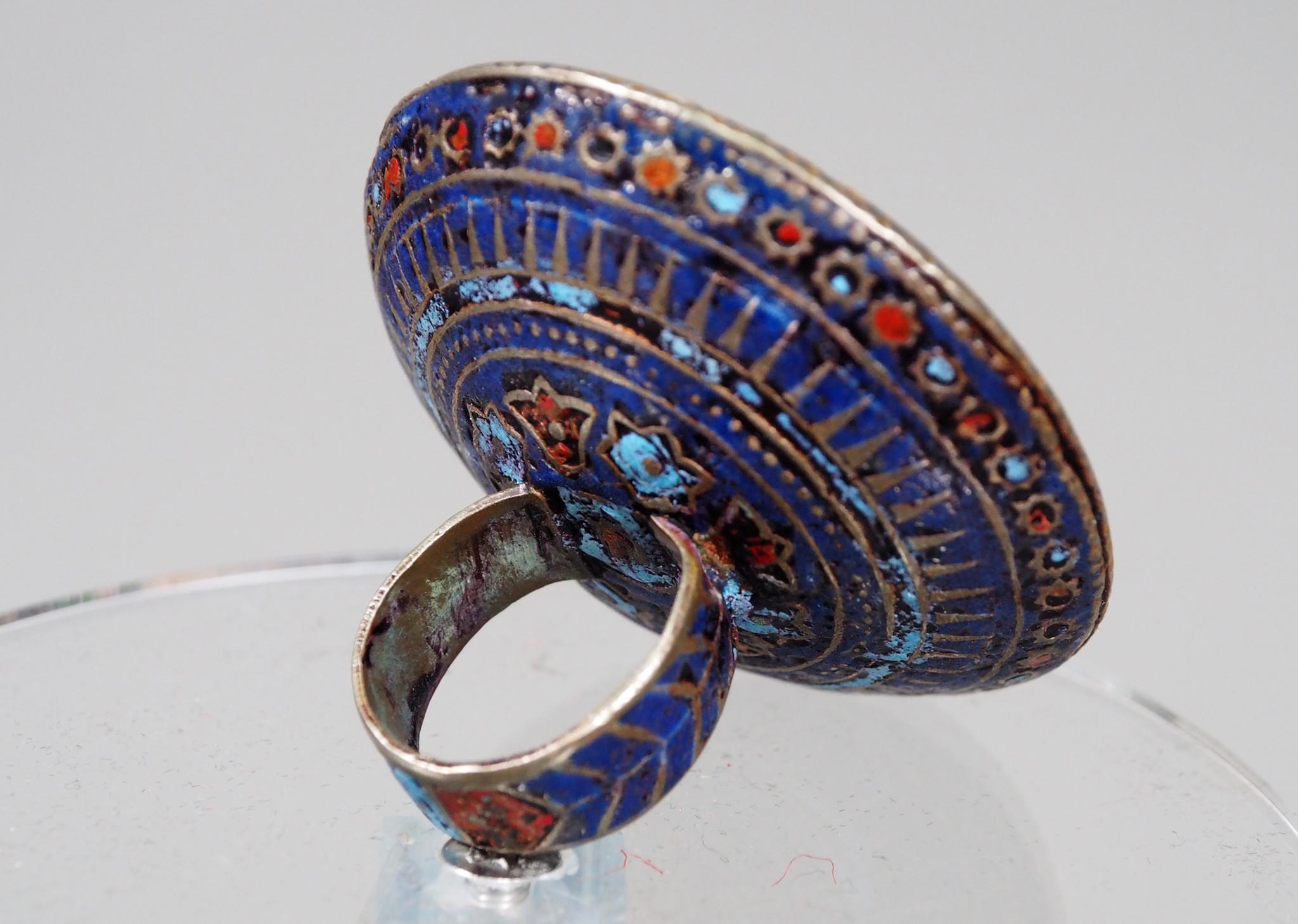 antique enamelled Multan Sindhi Jewellery Ring carnelian seal stone No:WL21A