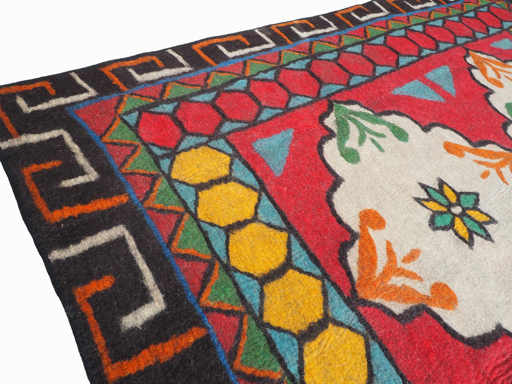 293x214 cm orient handgewebte Teppich Nomaden handgearbeitete Turkmenische nomanden Jurten Filzteppich Filz aus Nor Afghanistan shyrdak N702