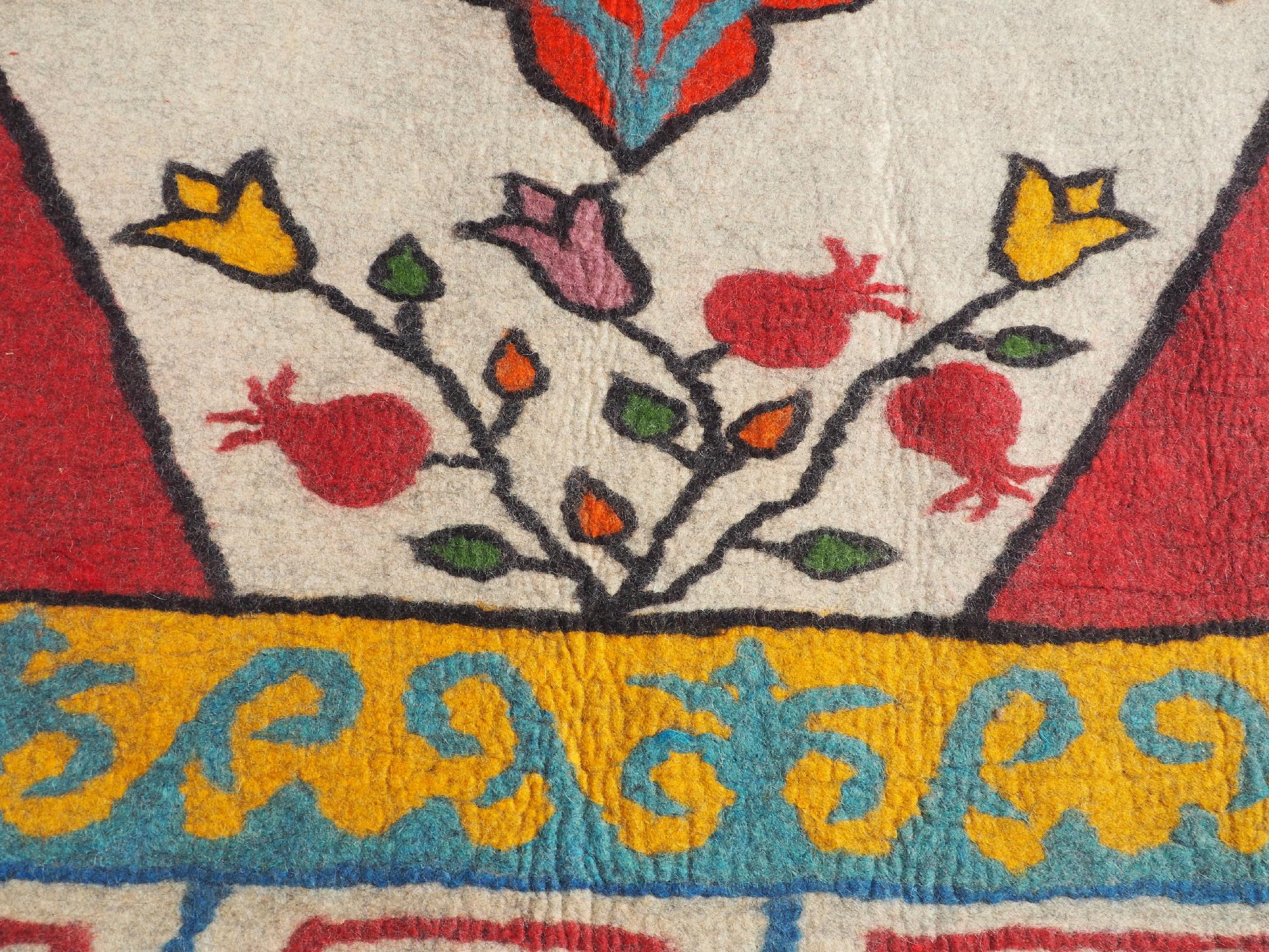 253x199 cm Oriental Tribal Turkmen nomad Handmade Felt Rug from Afghanistan No-705