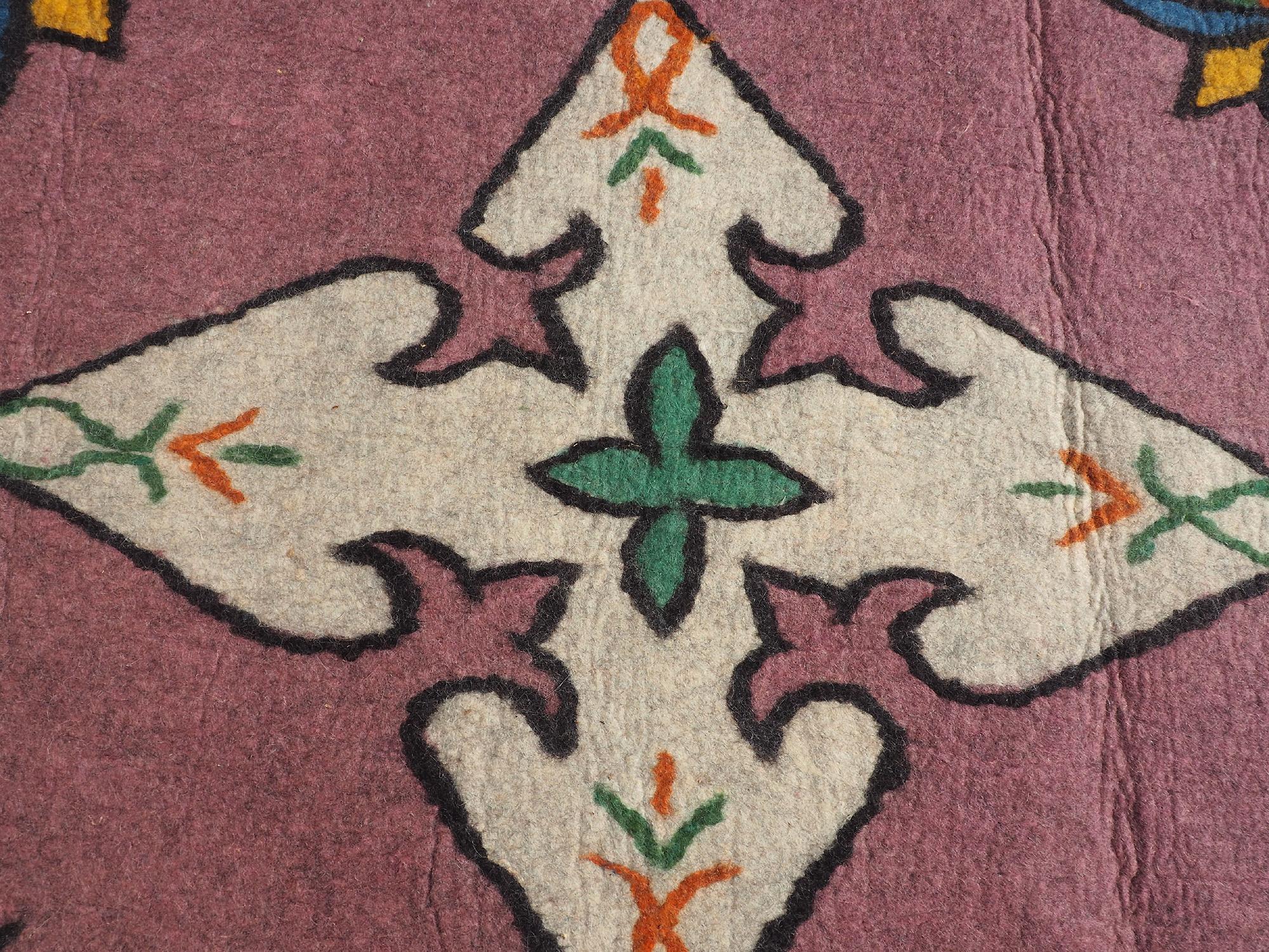 295x213 cm  tribal Nomadic Turkmen nomads Vintage felt rug rug from Afghanistan feltrug carpet shyrdak No-703
