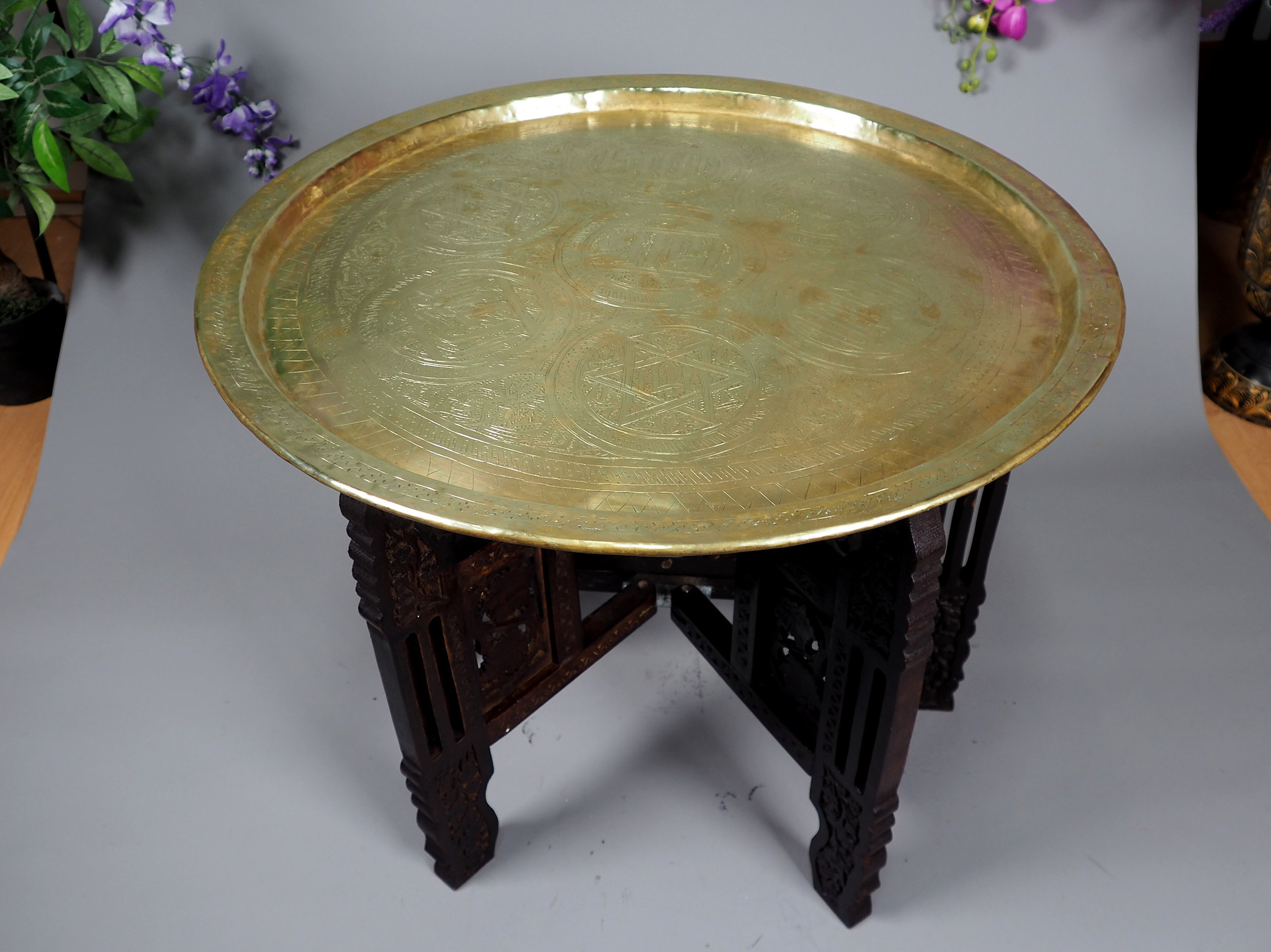 60 cm Antique ottoman orient Islamic ottoman Hammer Engraved Brass table Tray Syria Morocco, Egypt with arabic script calligraphy  No-21/C