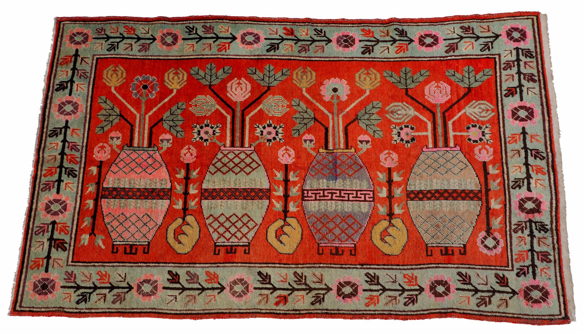 260x150 cm original antique Khotan Samarkand rug Chinese Turkestan hand knotted carpet No:21/42