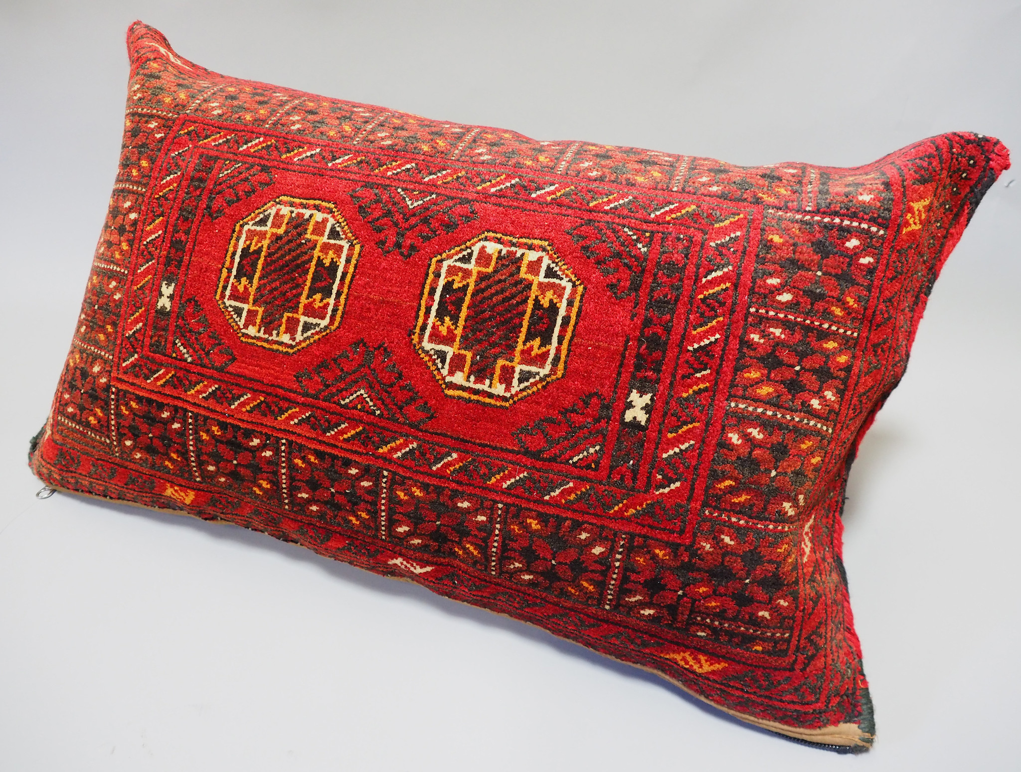 rare Hand knotted Turkmen wedding carpet cushion orient nomad rug seat Bohemian Afghanistan pillow  BS/1