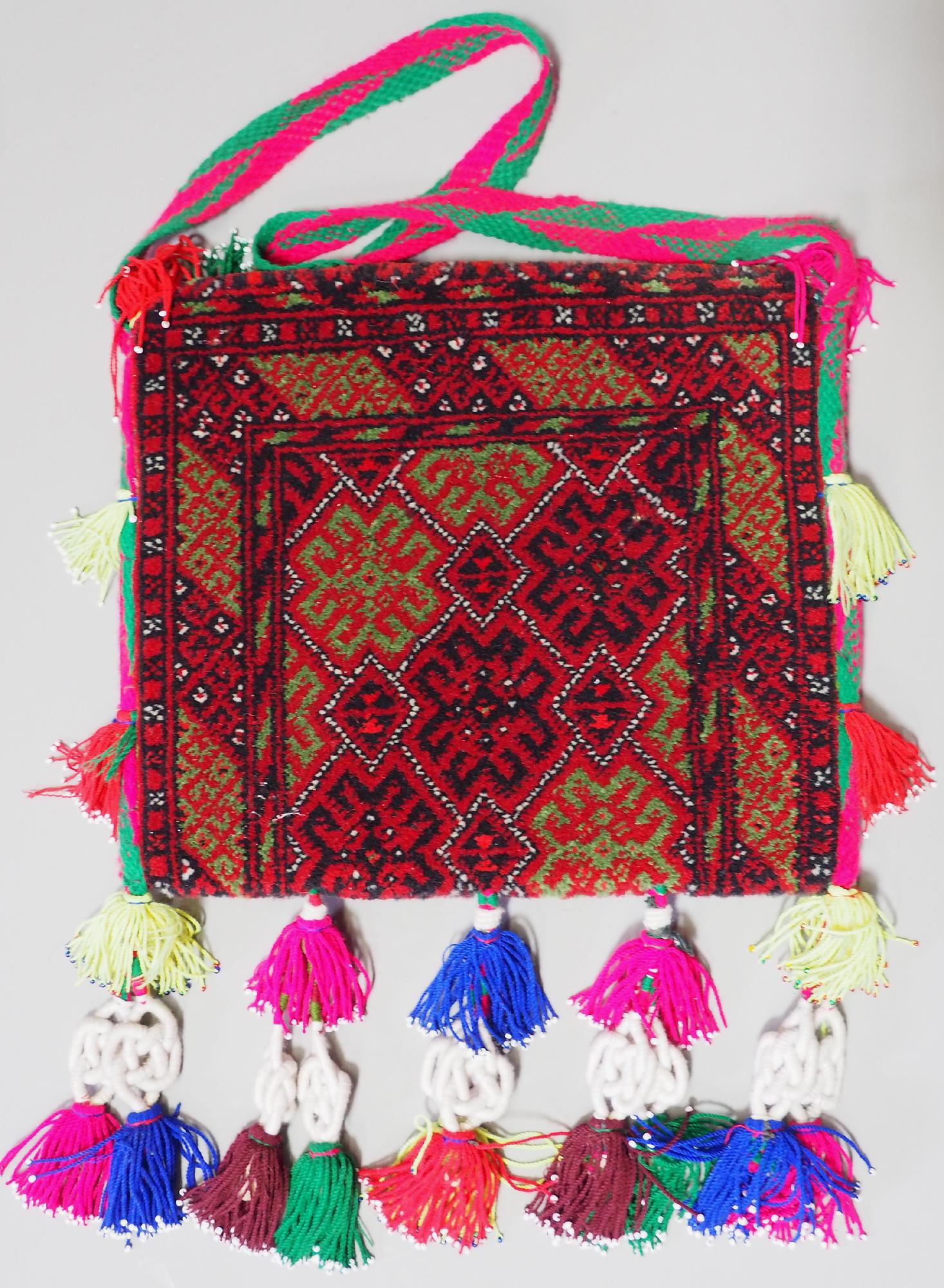 rare Hand knotted Turkmen wedding carpet Vintage Bag orient nomad rug ladies handbag Bohemian slingbag Afghanistan