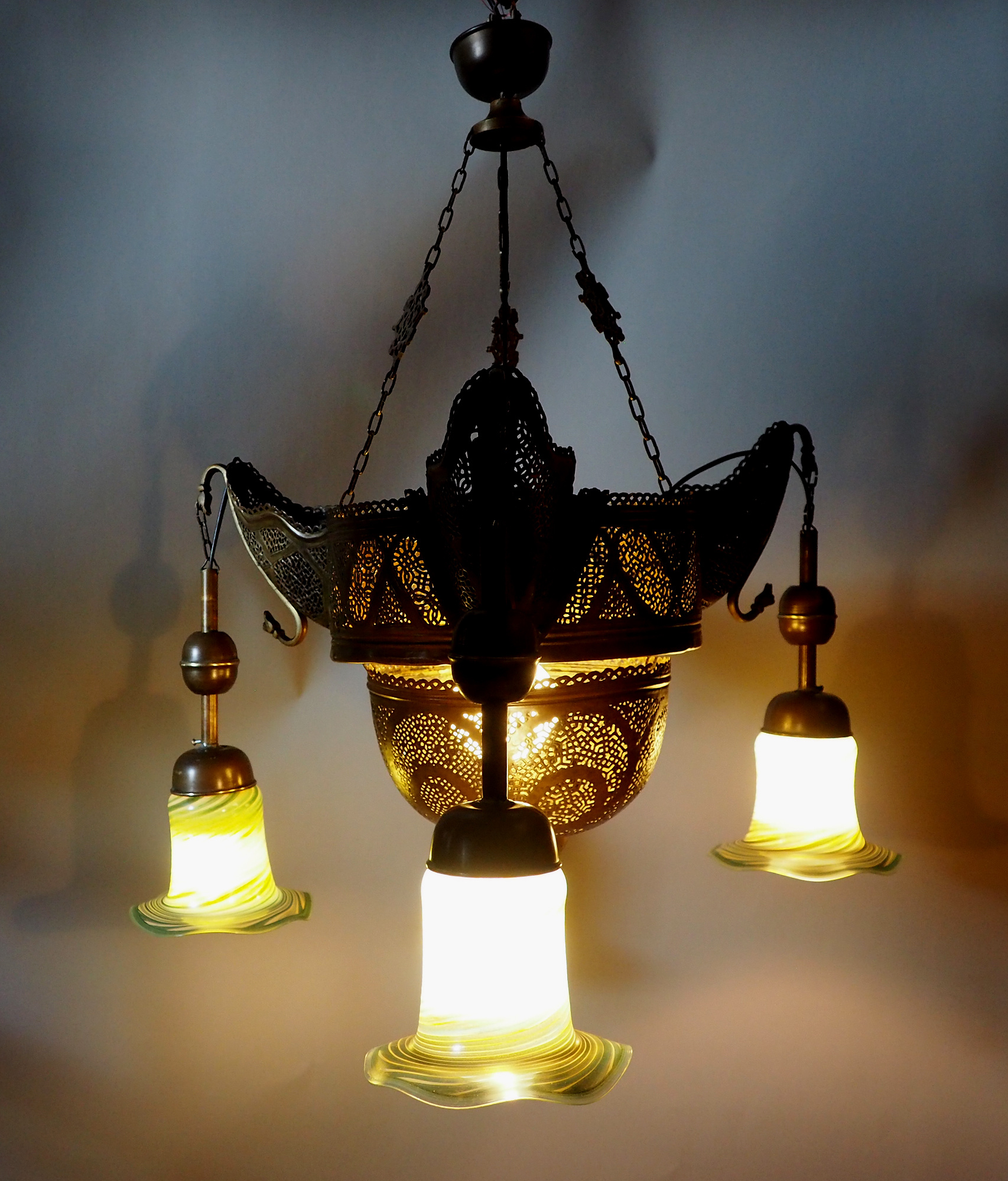 Antique Egyptian Morocco Middle Eastern / Islamic Brass Hanging Mosque Lamp Ceiling lamp