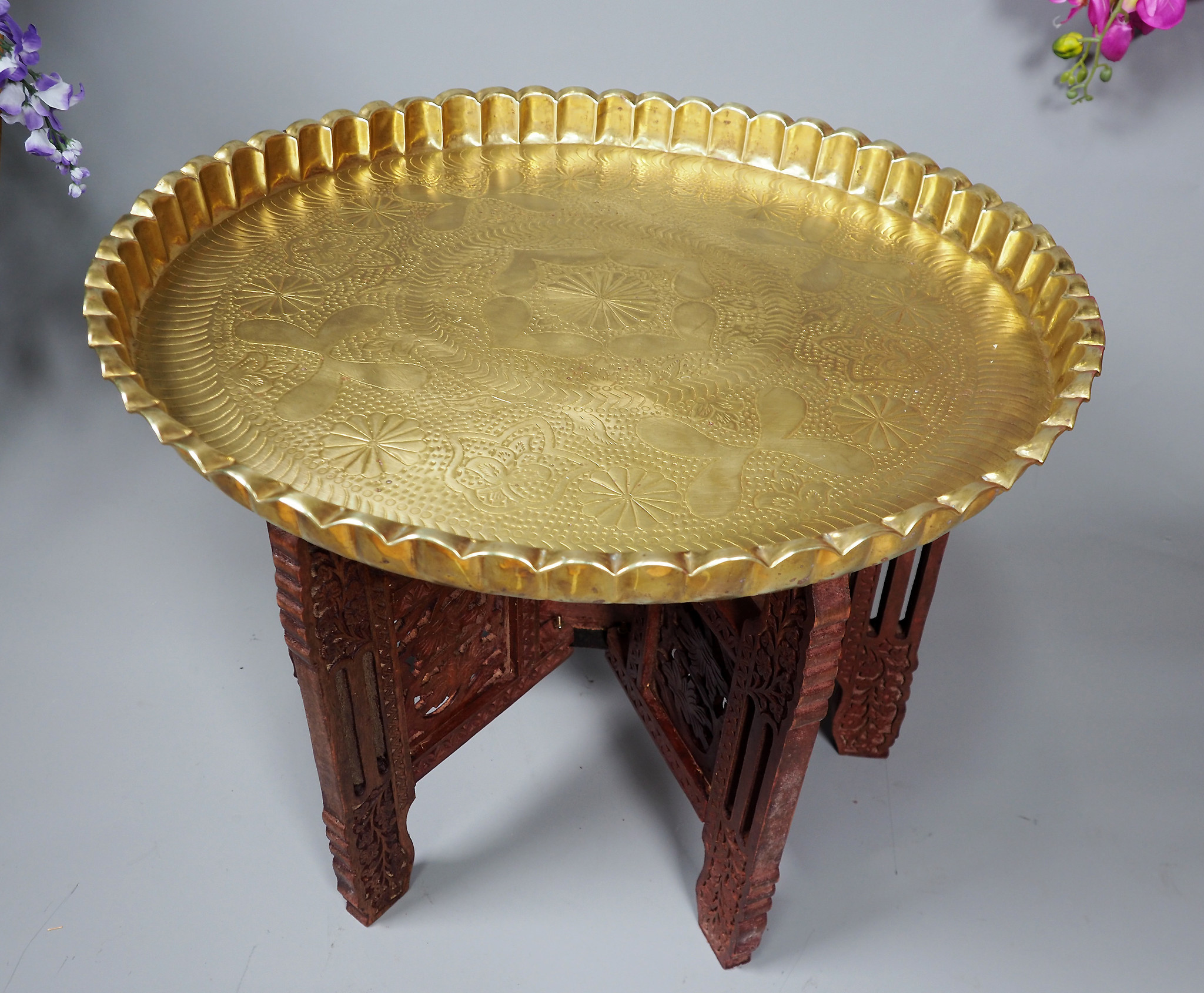 55 cm Antique ottoman orient Islamic  Hammer Engraved Brass table Tea table side table Tray from Afghanistan  No-21/G