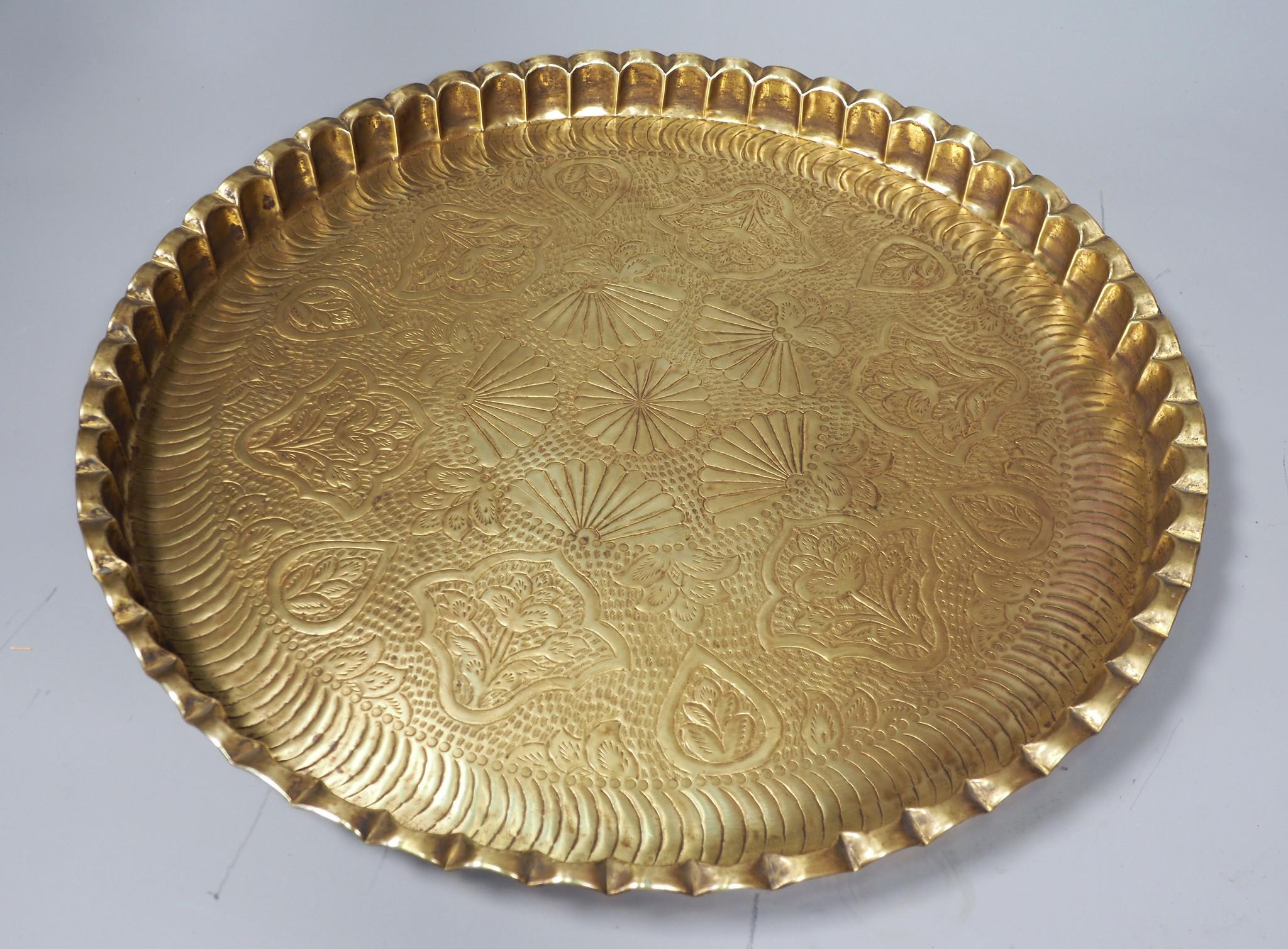 55 cm Ø  osmanisch ägyptisch marokkanisch orient Messing tablett Teetisch beisteltisch Afghanistan   21/F