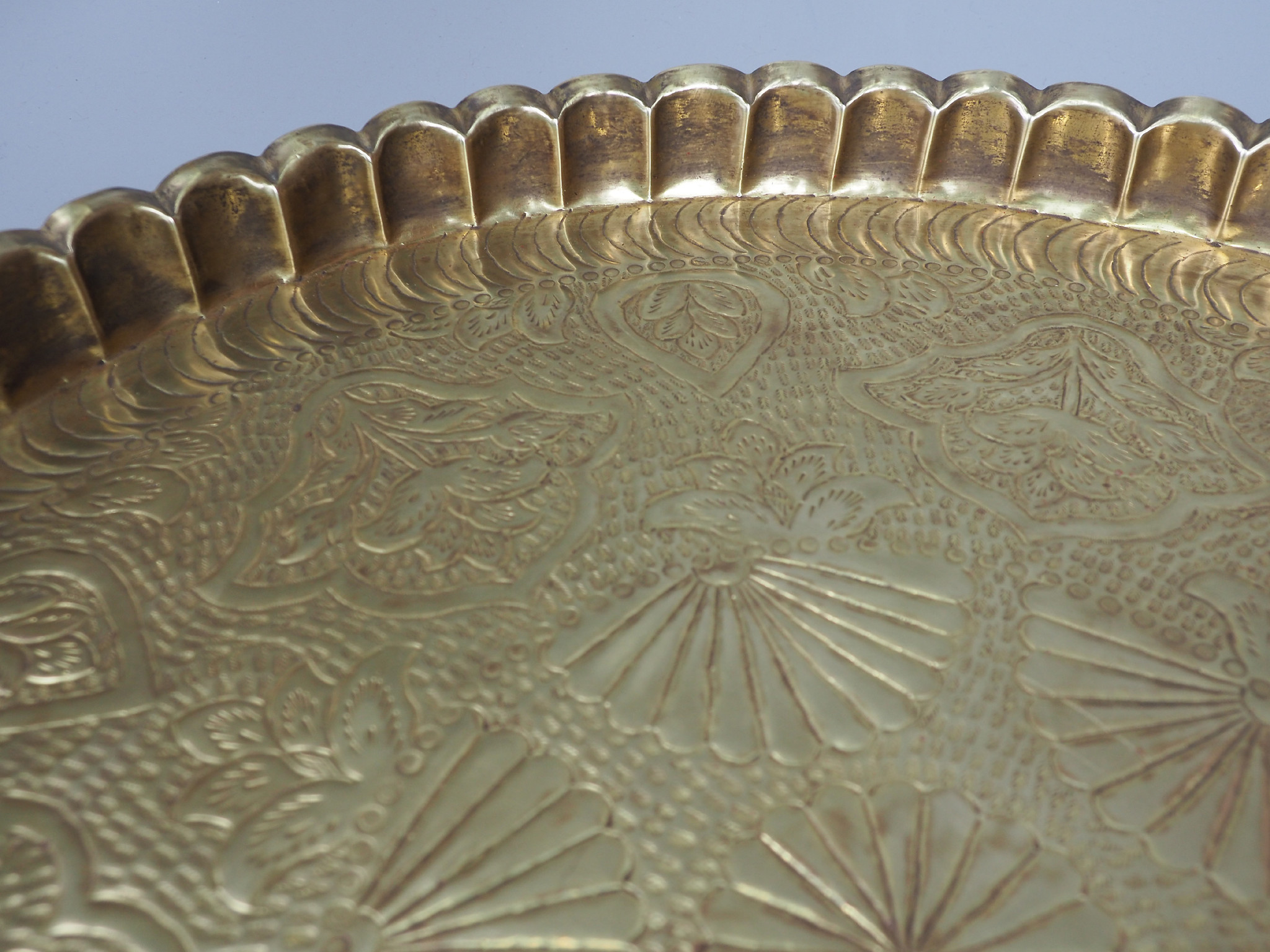 55 cm Antique ottoman orient Islamic  Hammer Engraved Brass table Tea table side table Tray from Afghanistan  No-21/F